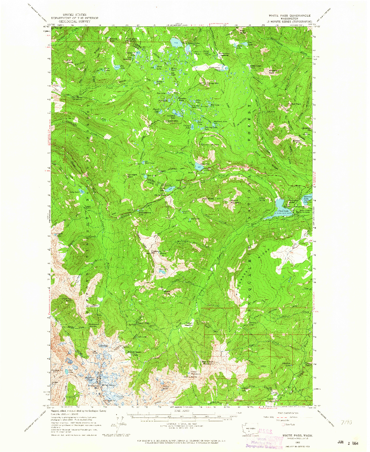 USGS 1:62500-SCALE QUADRANGLE FOR WHITE PASS, WA 1962