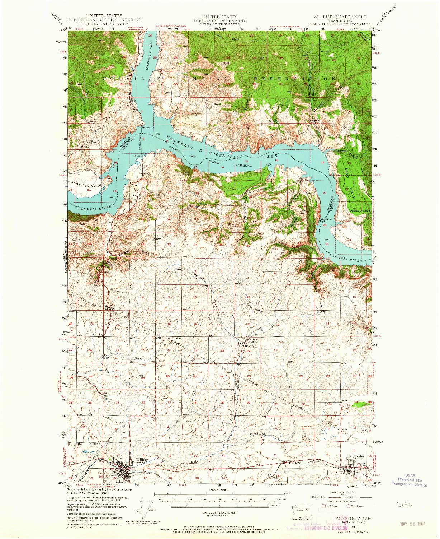 USGS 1:62500-SCALE QUADRANGLE FOR WILBUR, WA 1948