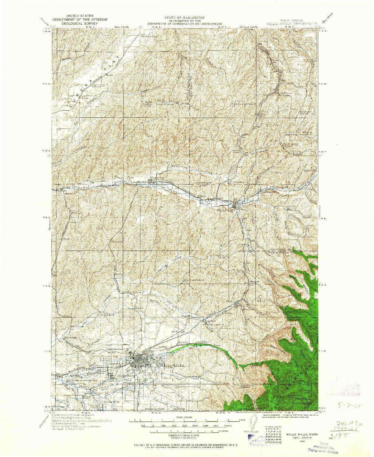 USGS 1:125000-SCALE QUADRANGLE FOR WALLA WALLA, WA 1919