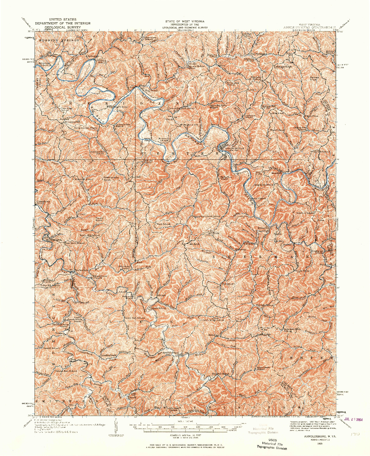 USGS 1:62500-SCALE QUADRANGLE FOR ARNOLDSBURG, WV 1925