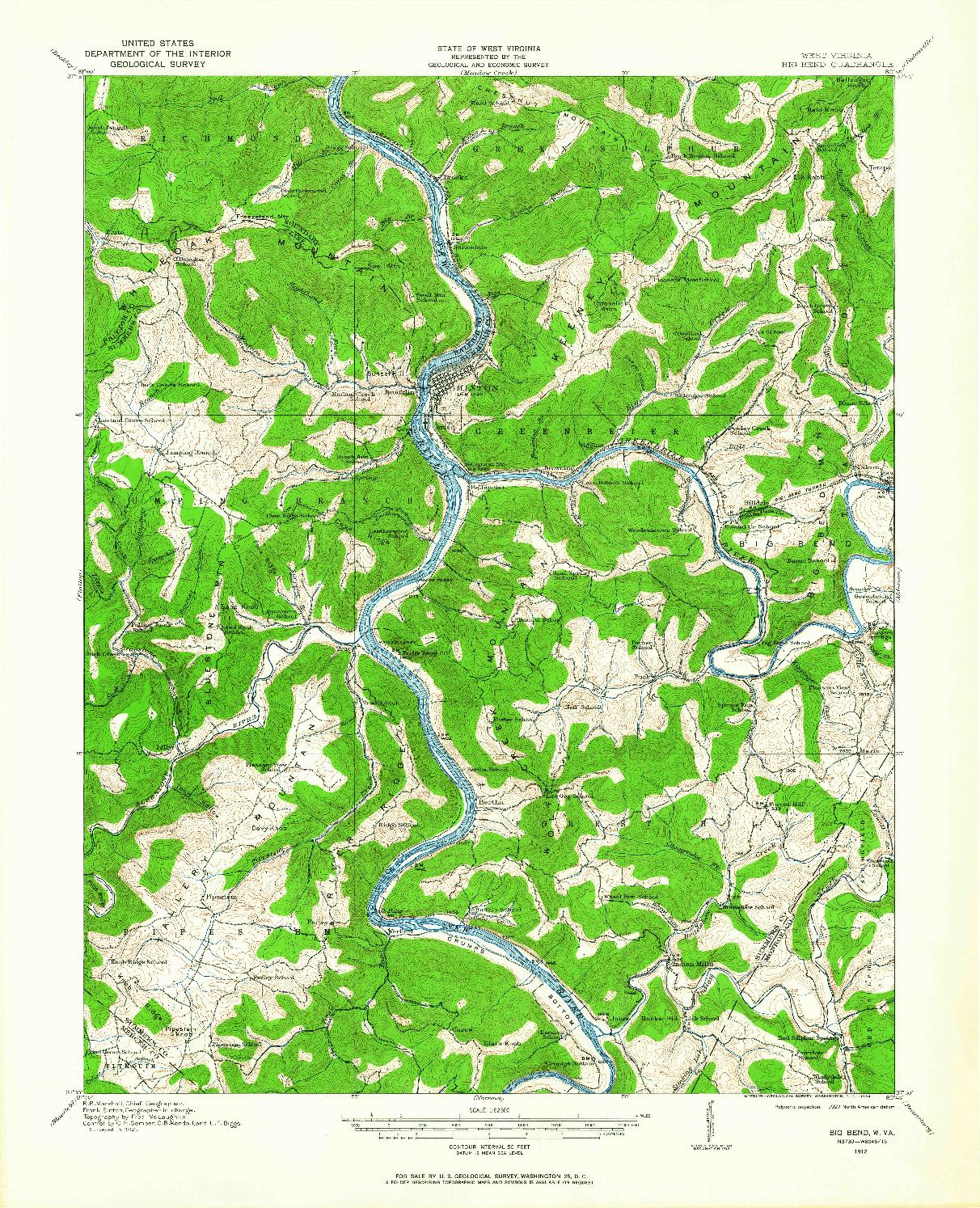 USGS 1:62500-SCALE QUADRANGLE FOR BIG BEND, WV 1912