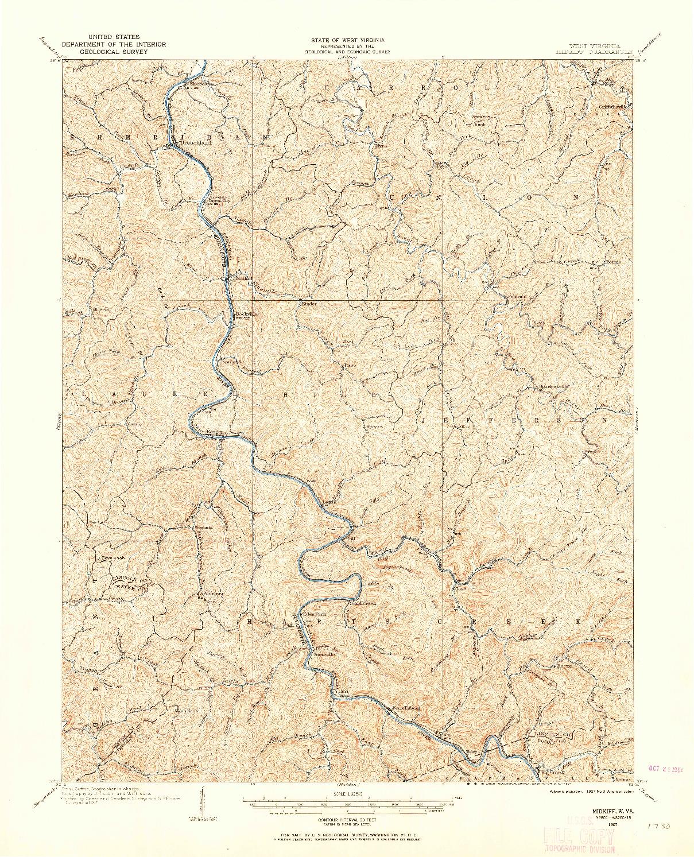 USGS 1:62500-SCALE QUADRANGLE FOR MIDKIFF, WV 1907