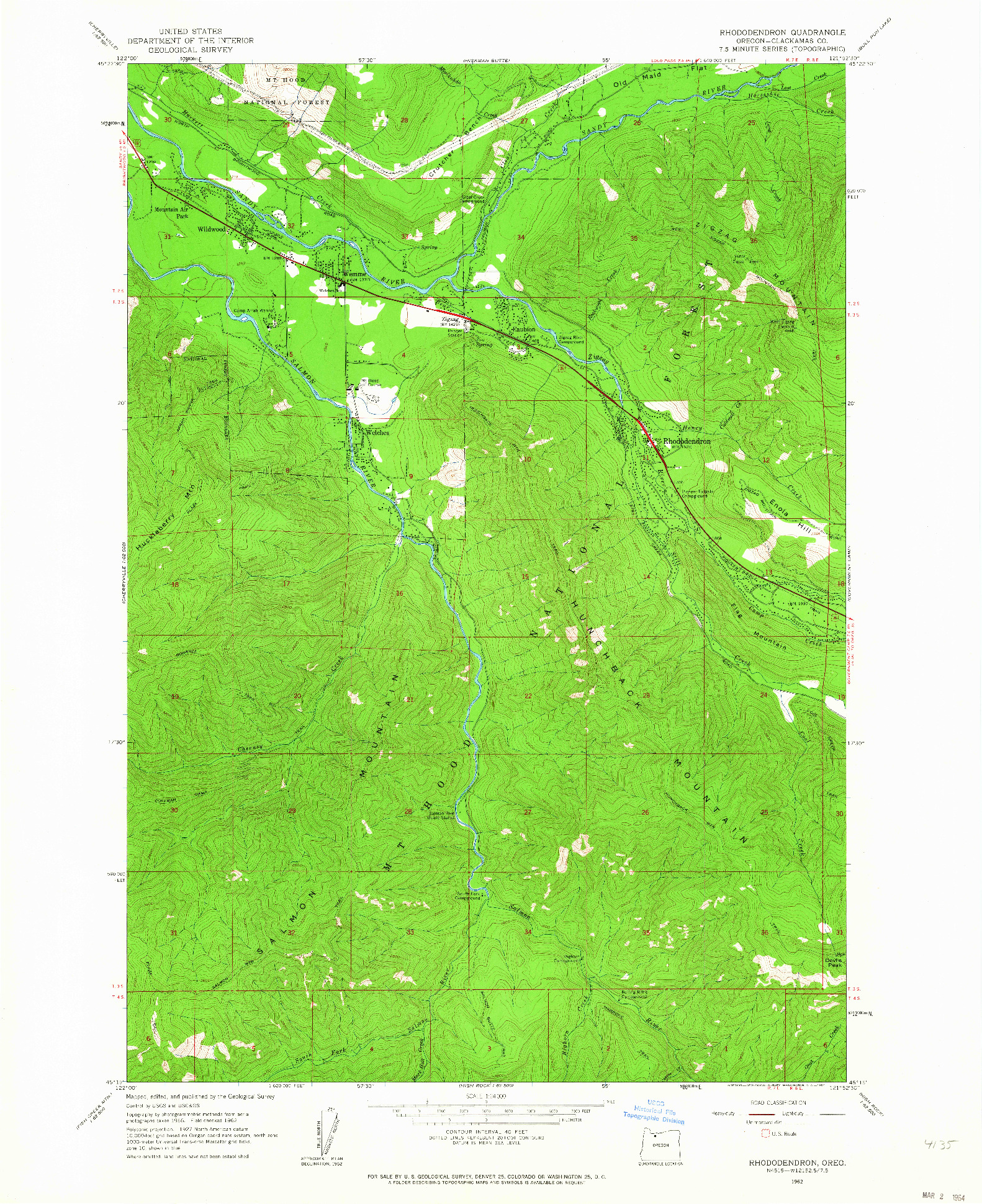 USGS 1:24000-SCALE QUADRANGLE FOR RHODODENDRON, OR 1962