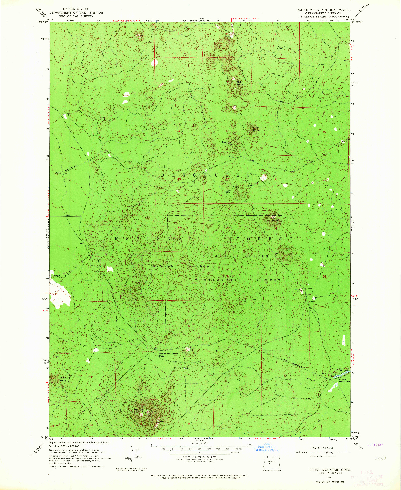 USGS 1:24000-SCALE QUADRANGLE FOR ROUND MOUNTAIN, OR 1963