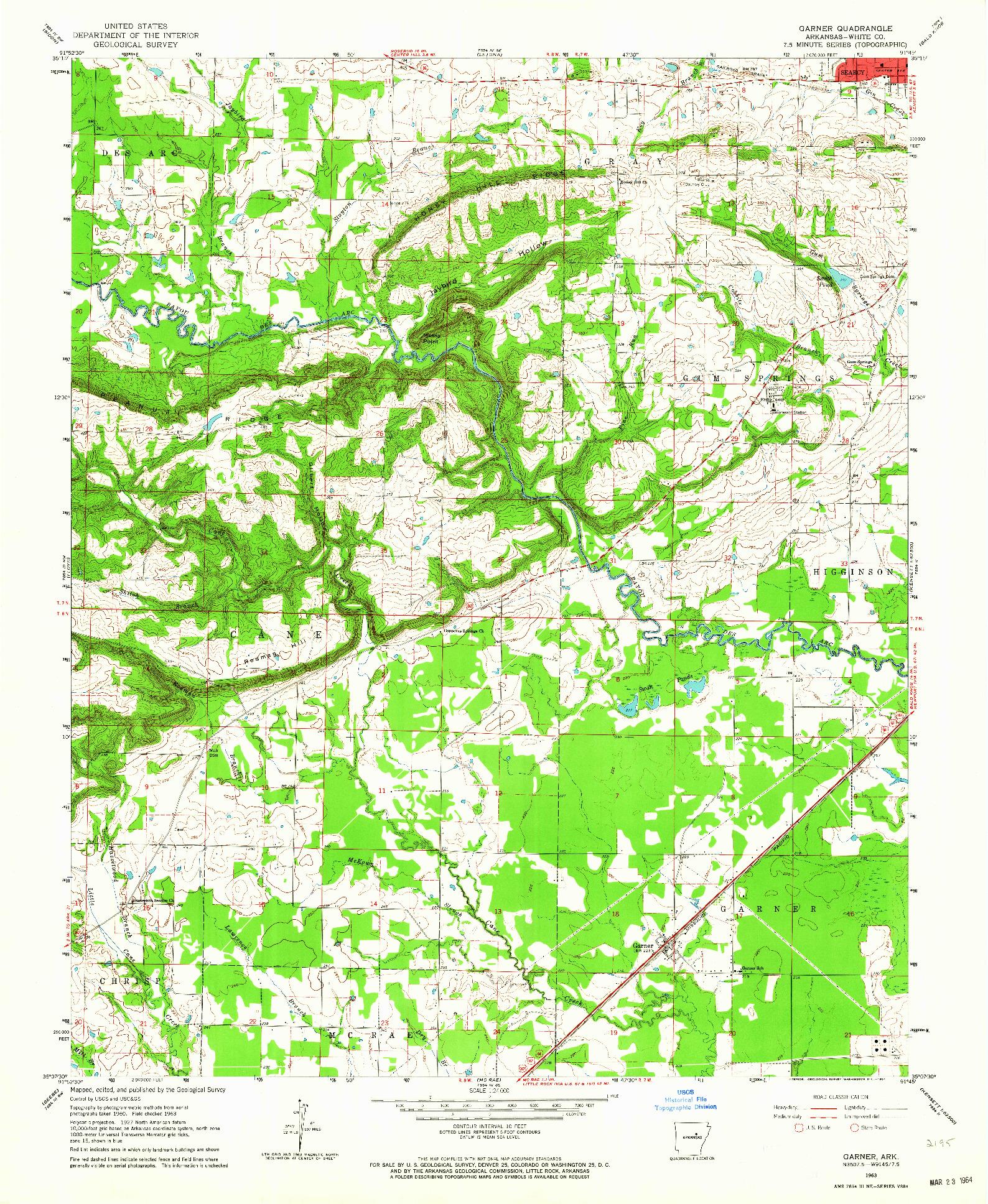 USGS 1:24000-SCALE QUADRANGLE FOR GARNER, AR 1963