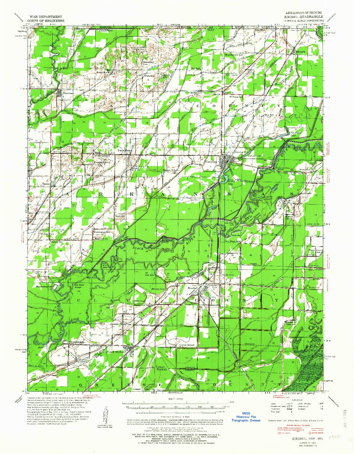 USGS 1:62500-SCALE QUADRANGLE FOR KNOBEL, AR 1941