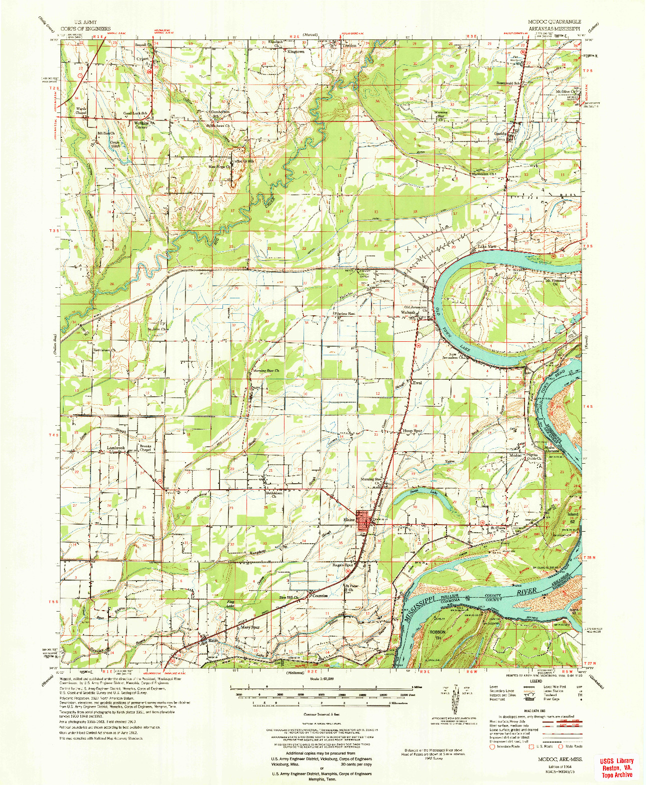 USGS 1:62500-SCALE QUADRANGLE FOR MODOC, AR 1964