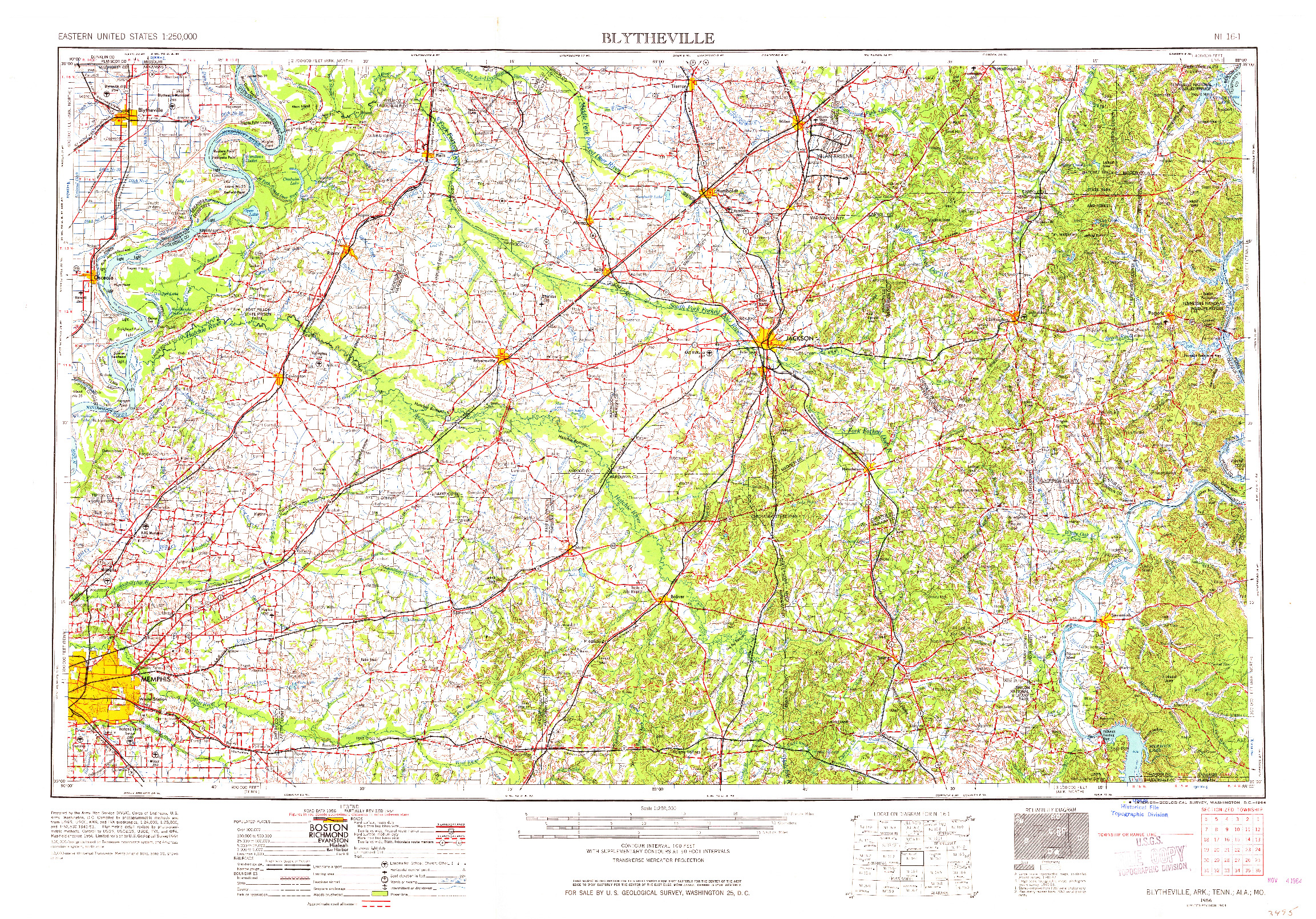 USGS 1:250000-SCALE QUADRANGLE FOR BLYTHEVILLE, AR 1956