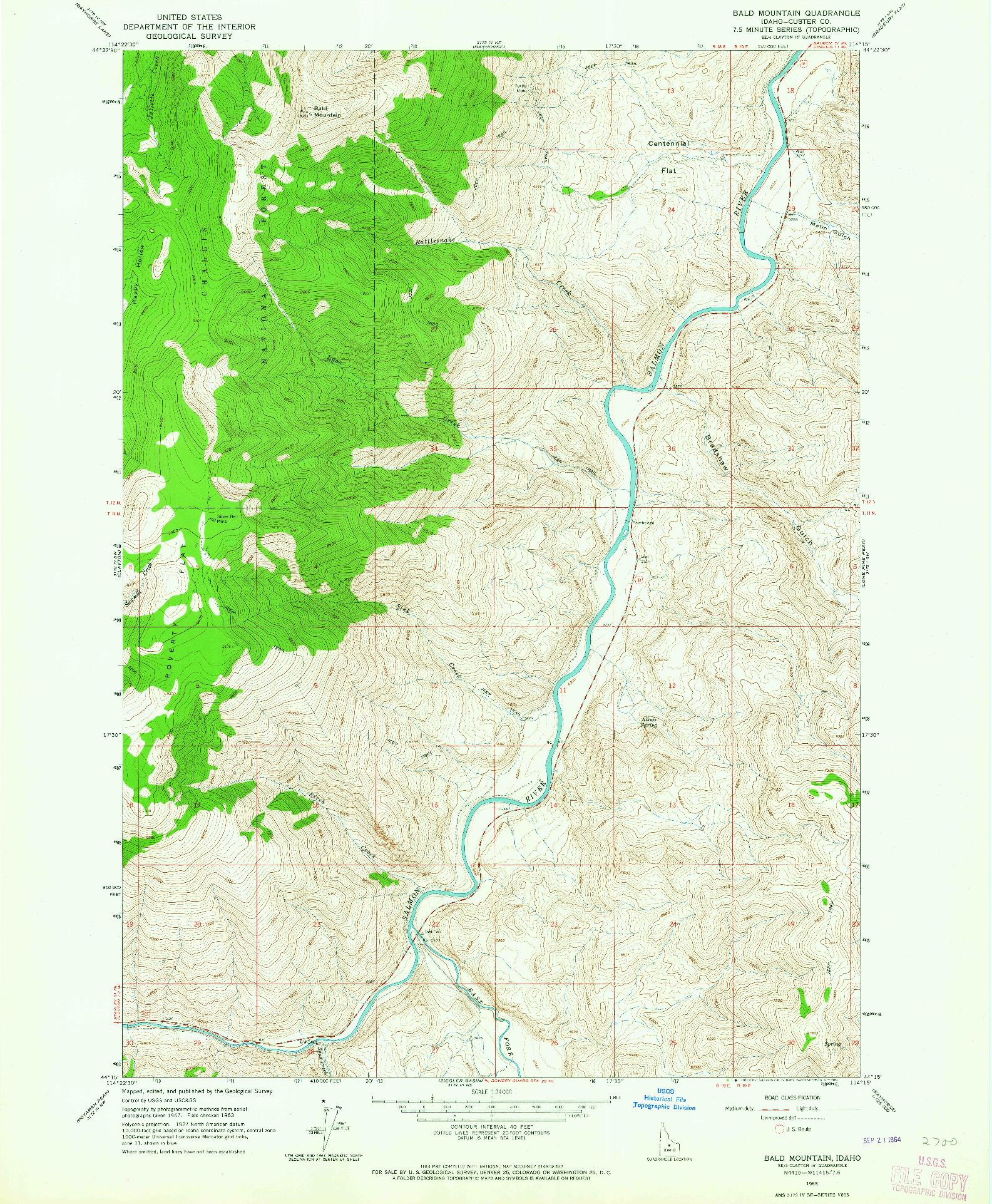 USGS 1:24000-SCALE QUADRANGLE FOR BALD MOUNTAIN, ID 1963