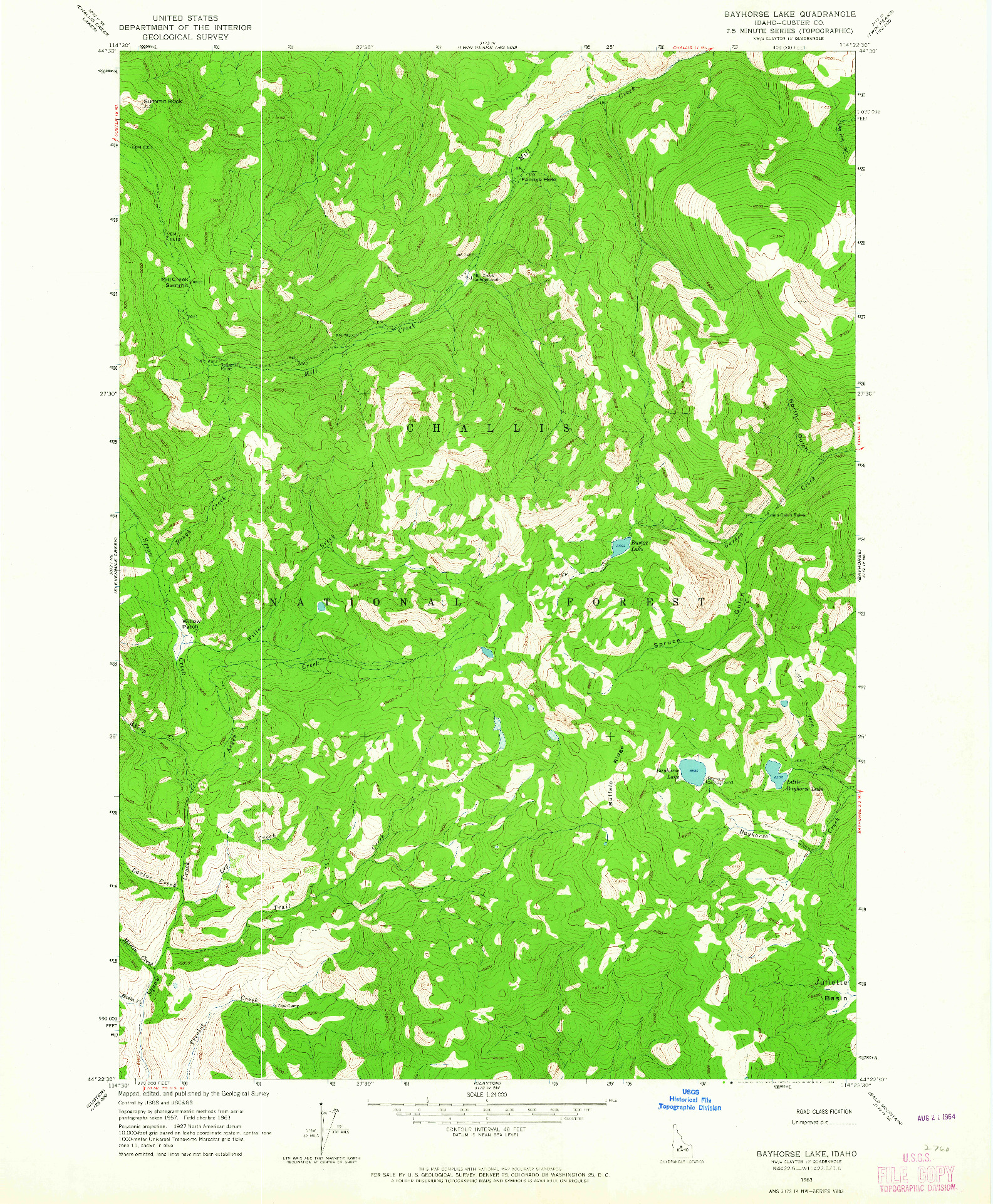USGS 1:24000-SCALE QUADRANGLE FOR BAYHORSE LAKE, ID 1963