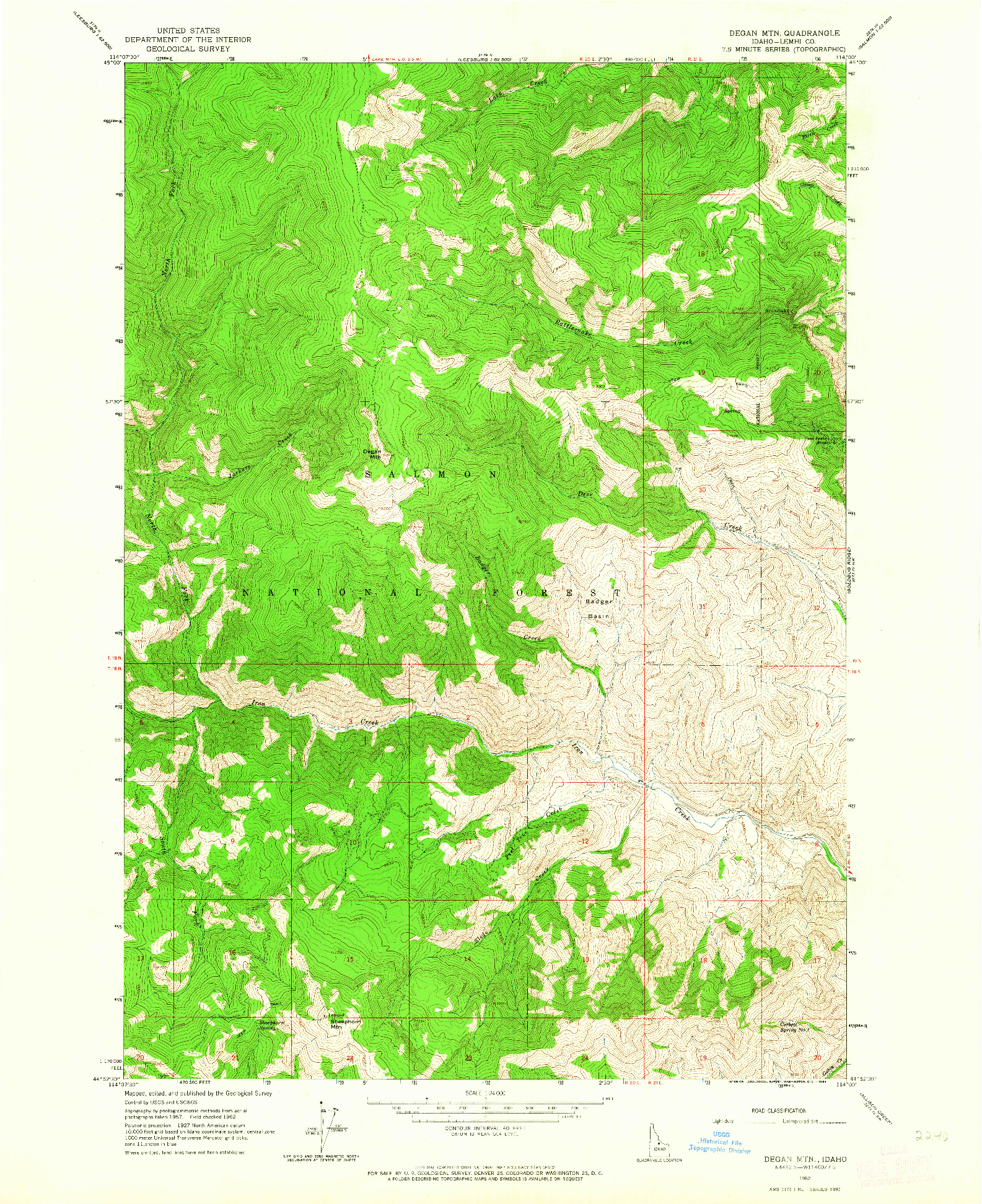 USGS 1:24000-SCALE QUADRANGLE FOR DEGAN MTN, ID 1962