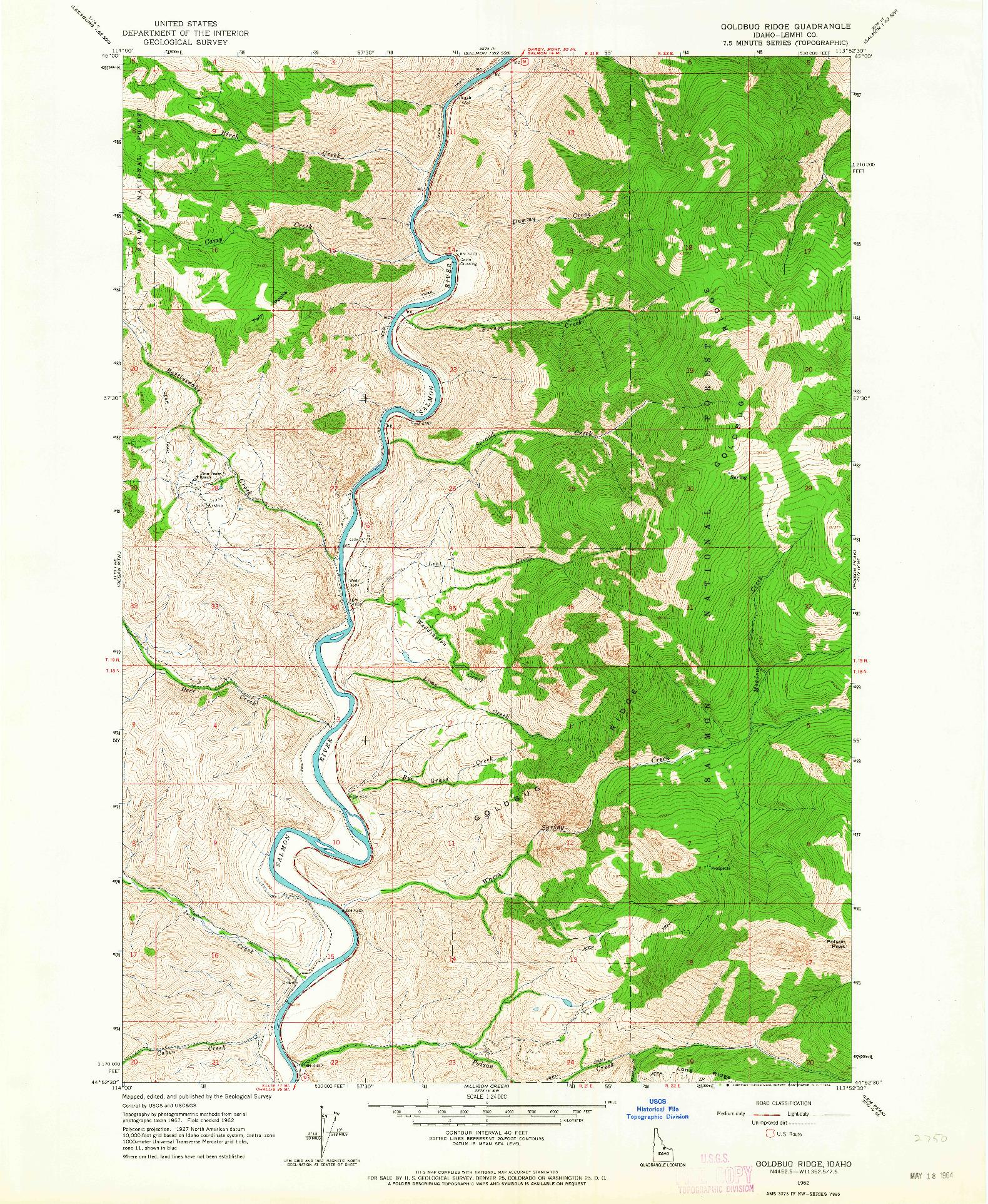 USGS 1:24000-SCALE QUADRANGLE FOR GOLDBUG RIDGE, ID 1962
