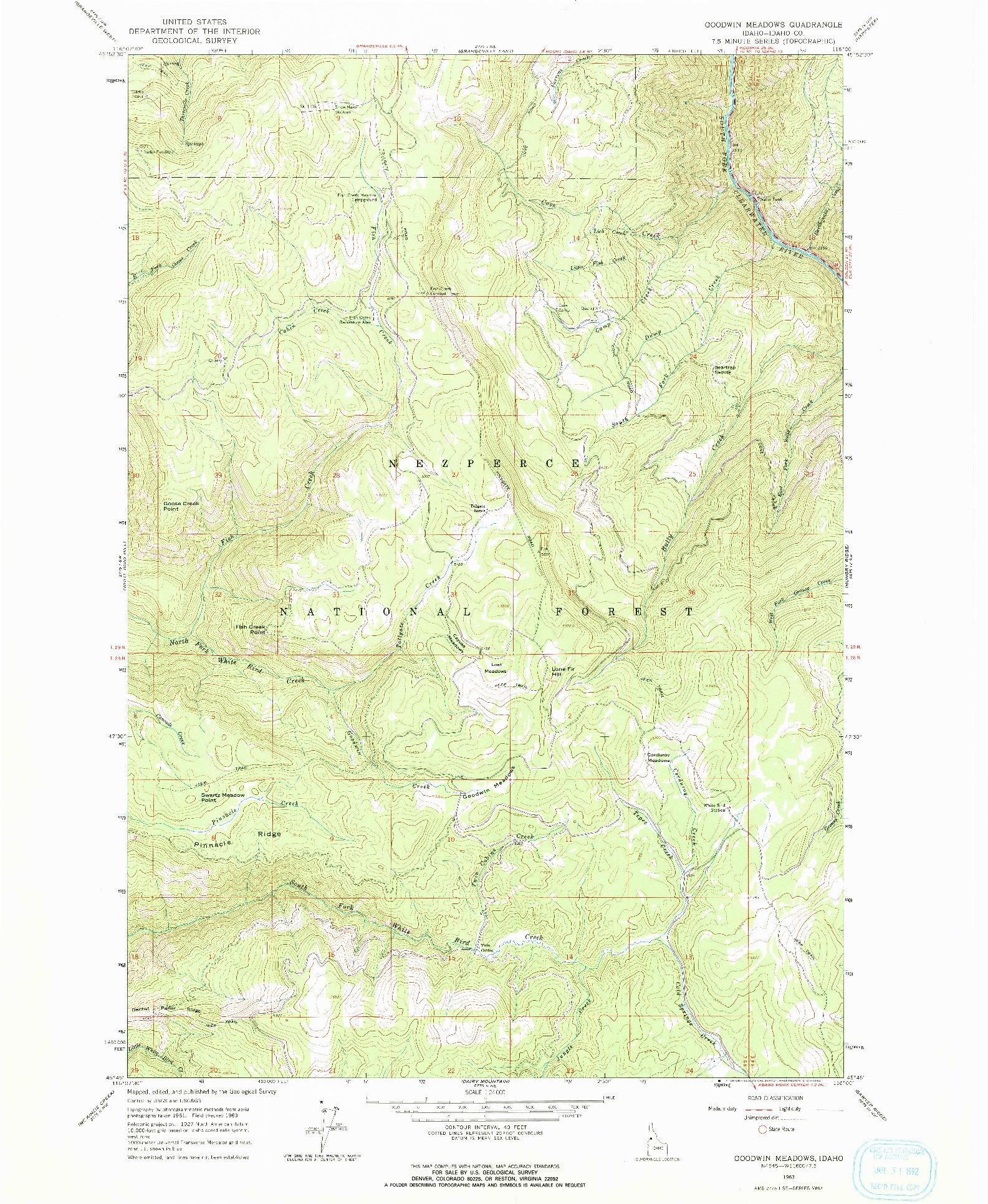 USGS 1:24000-SCALE QUADRANGLE FOR GOODWIN MEADOWS, ID 1963