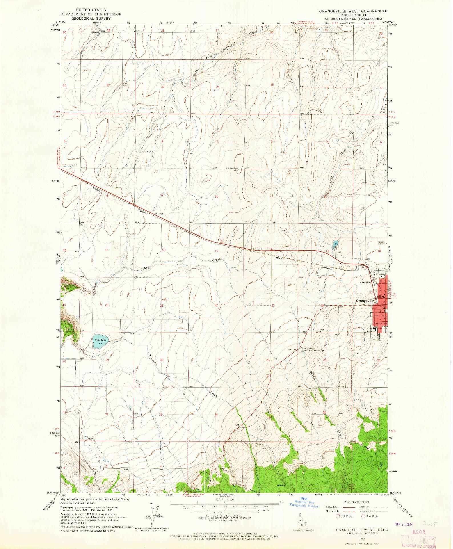 USGS 1:24000-SCALE QUADRANGLE FOR GRANGEVILLE WEST, ID 1963