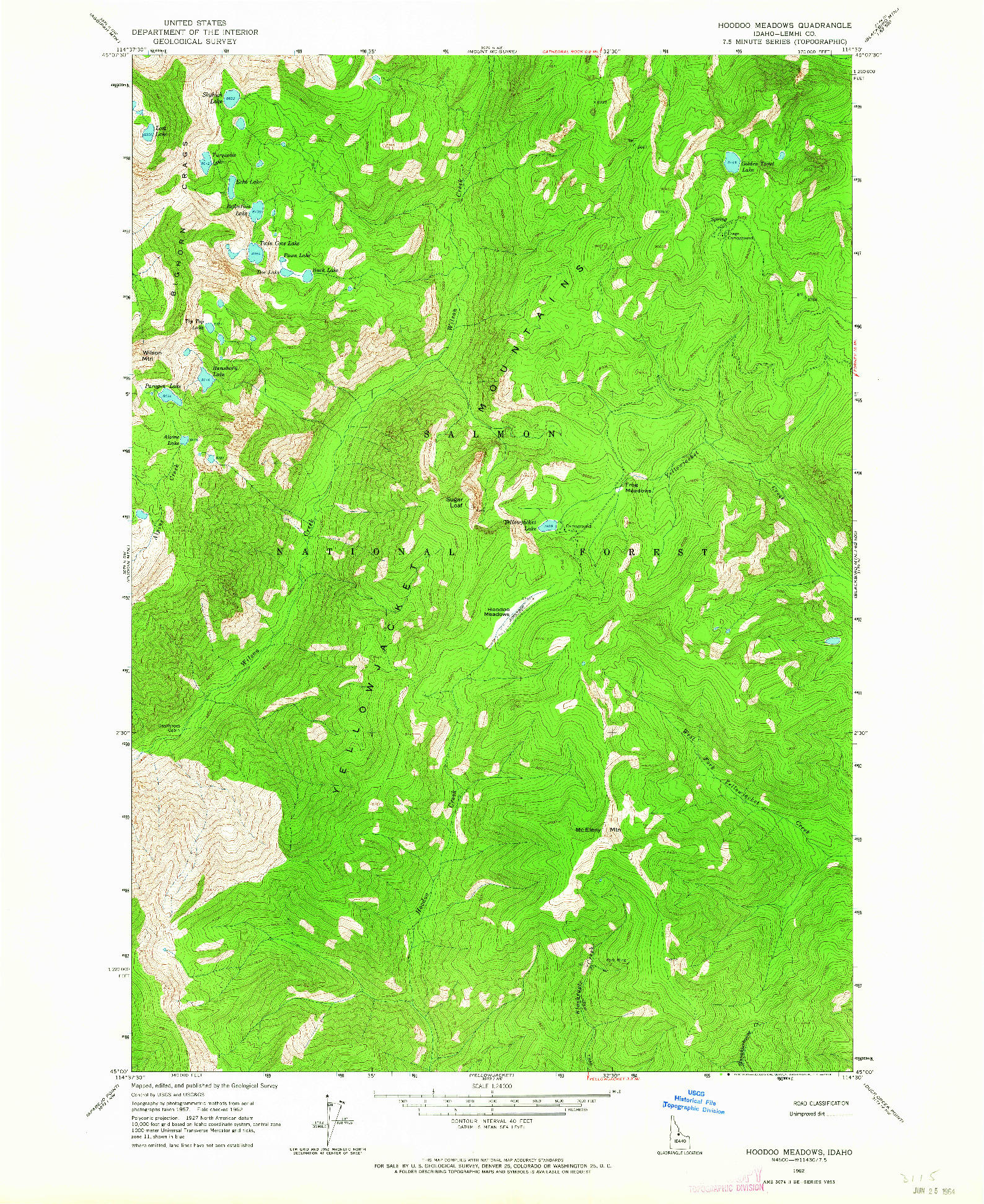 USGS 1:24000-SCALE QUADRANGLE FOR HOODOO MEADOWS, ID 1962