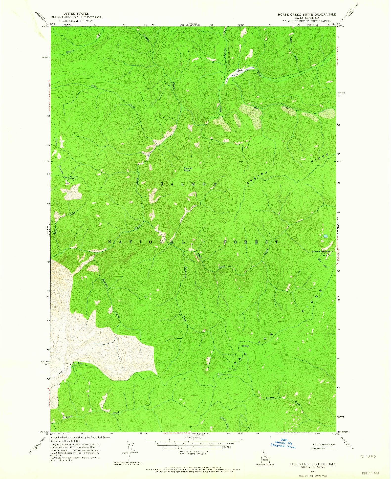 USGS 1:24000-SCALE QUADRANGLE FOR HORSE CREEK BUTTE, ID 1962