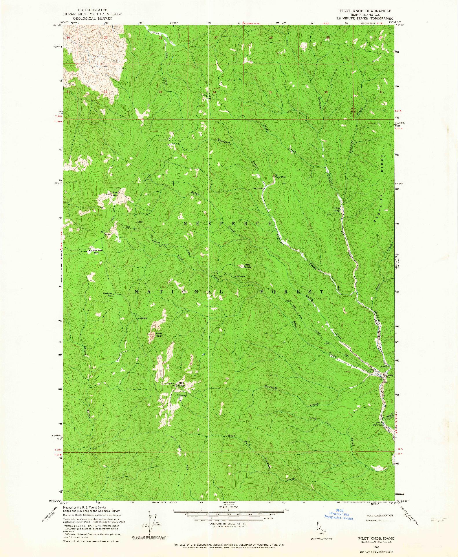 USGS 1:24000-SCALE QUADRANGLE FOR PILOT KNOB, ID 1962