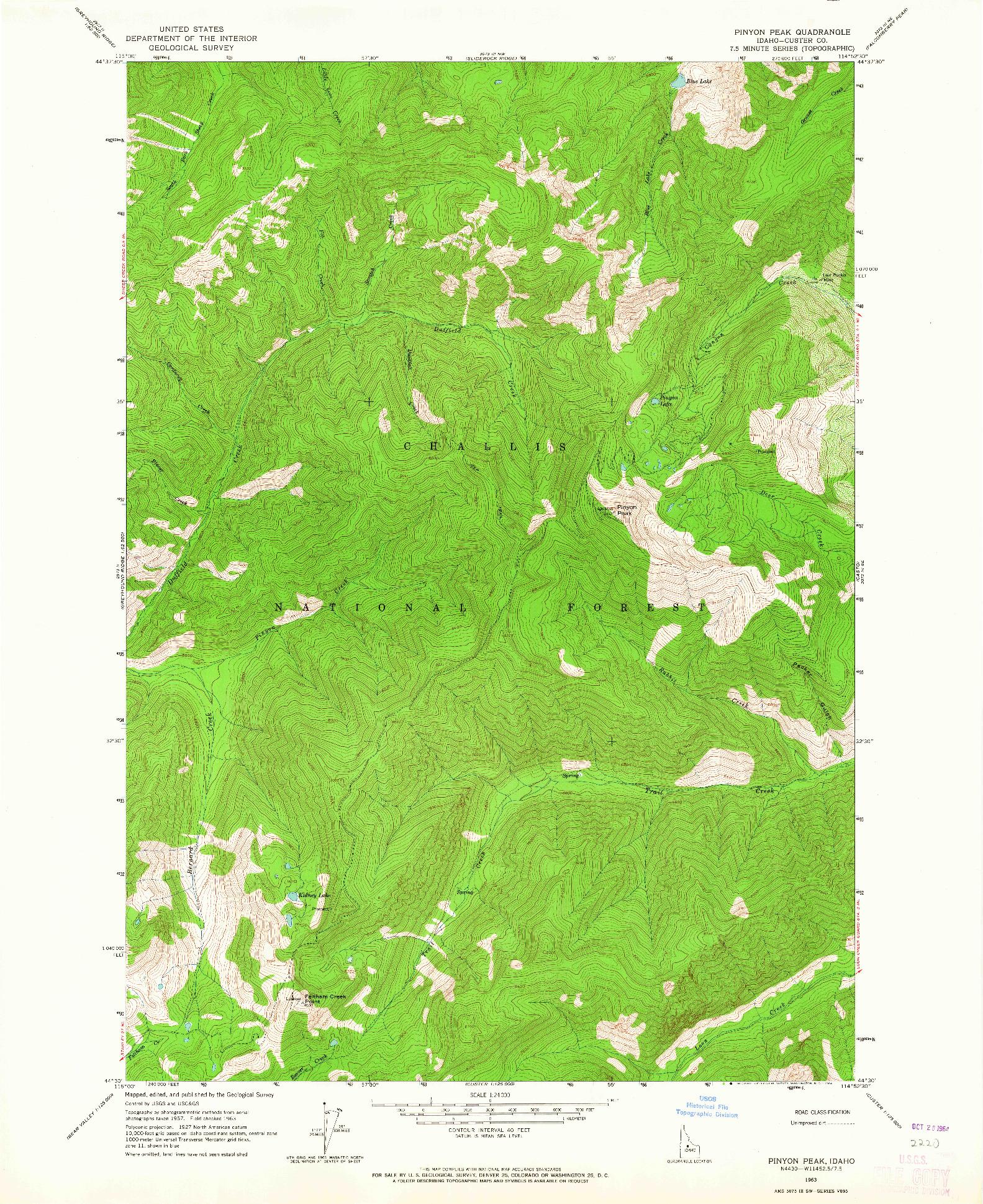 USGS 1:24000-SCALE QUADRANGLE FOR PINYON PEAK, ID 1963
