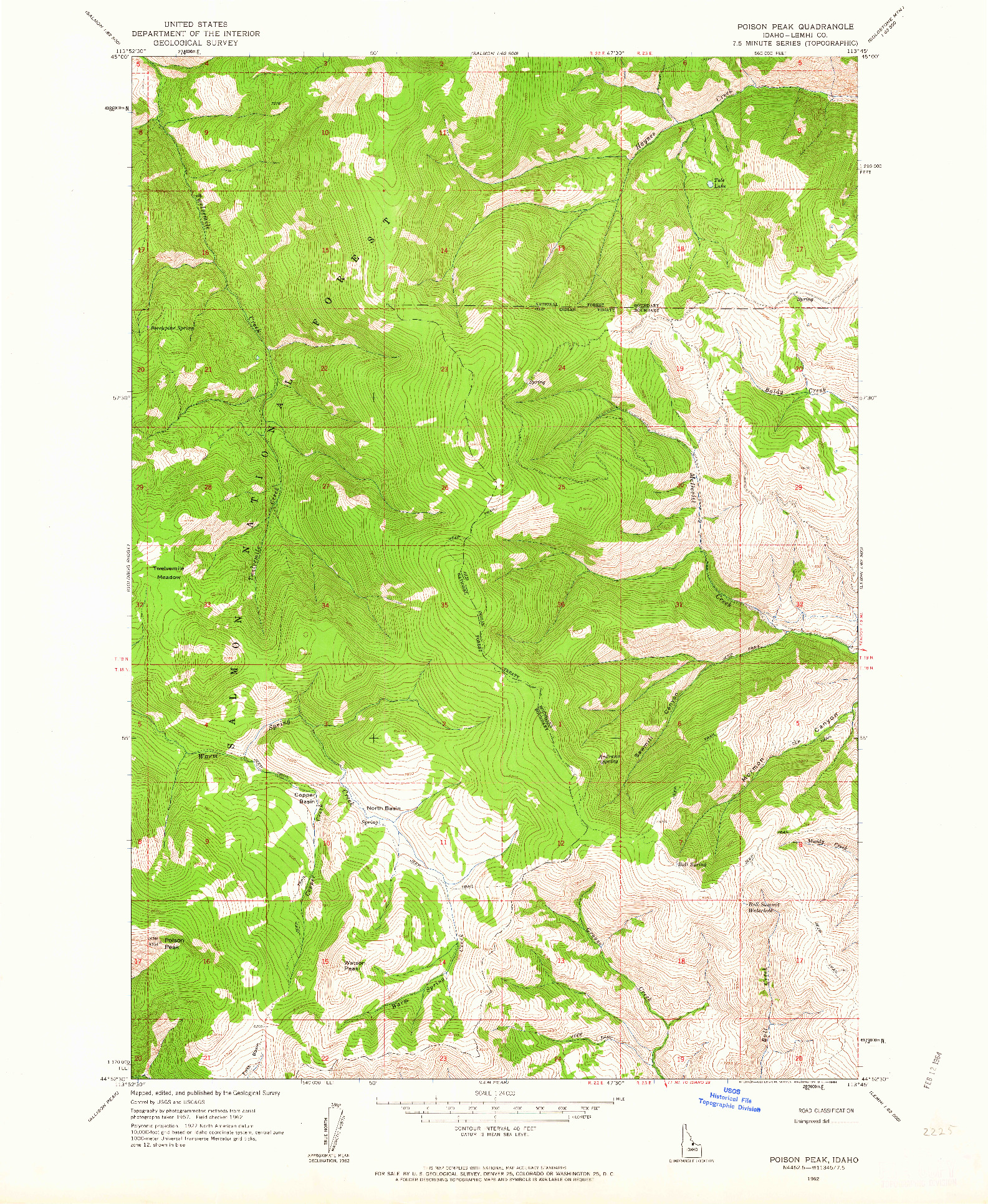 USGS 1:24000-SCALE QUADRANGLE FOR POISON PEAK, ID 1962