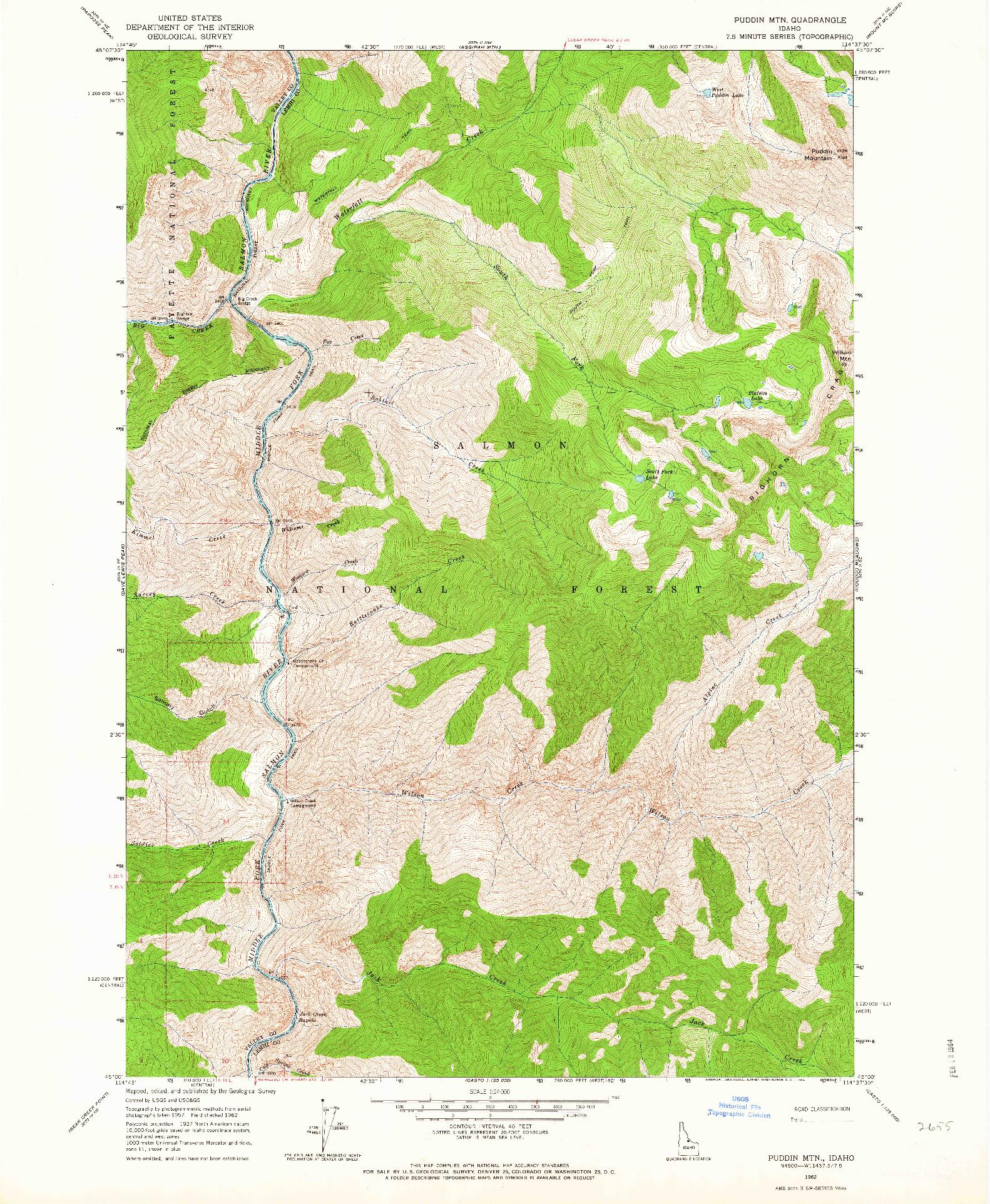 USGS 1:24000-SCALE QUADRANGLE FOR PUDDIN MTN, ID 1962