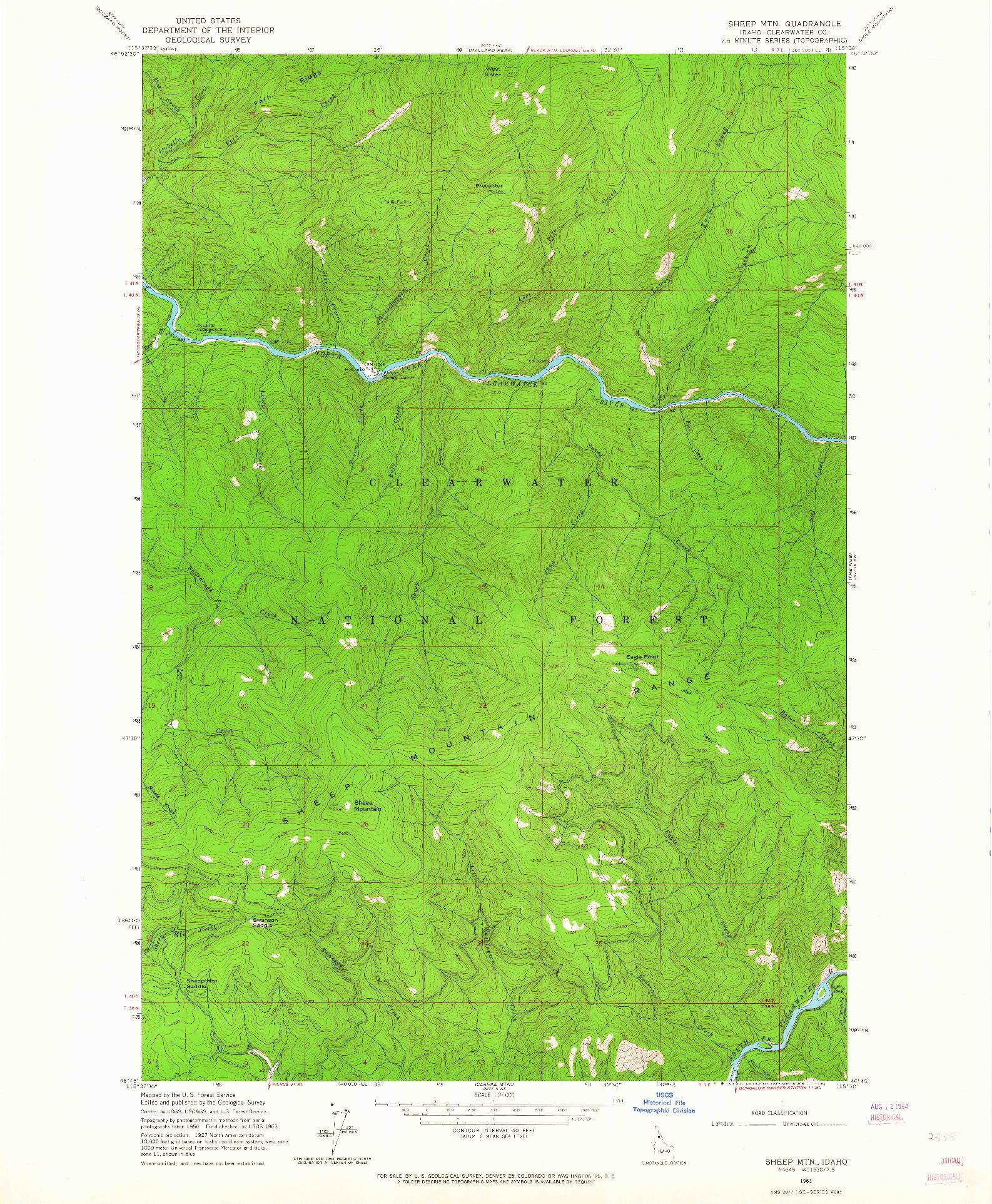 USGS 1:24000-SCALE QUADRANGLE FOR SHEEP MTN, ID 1963