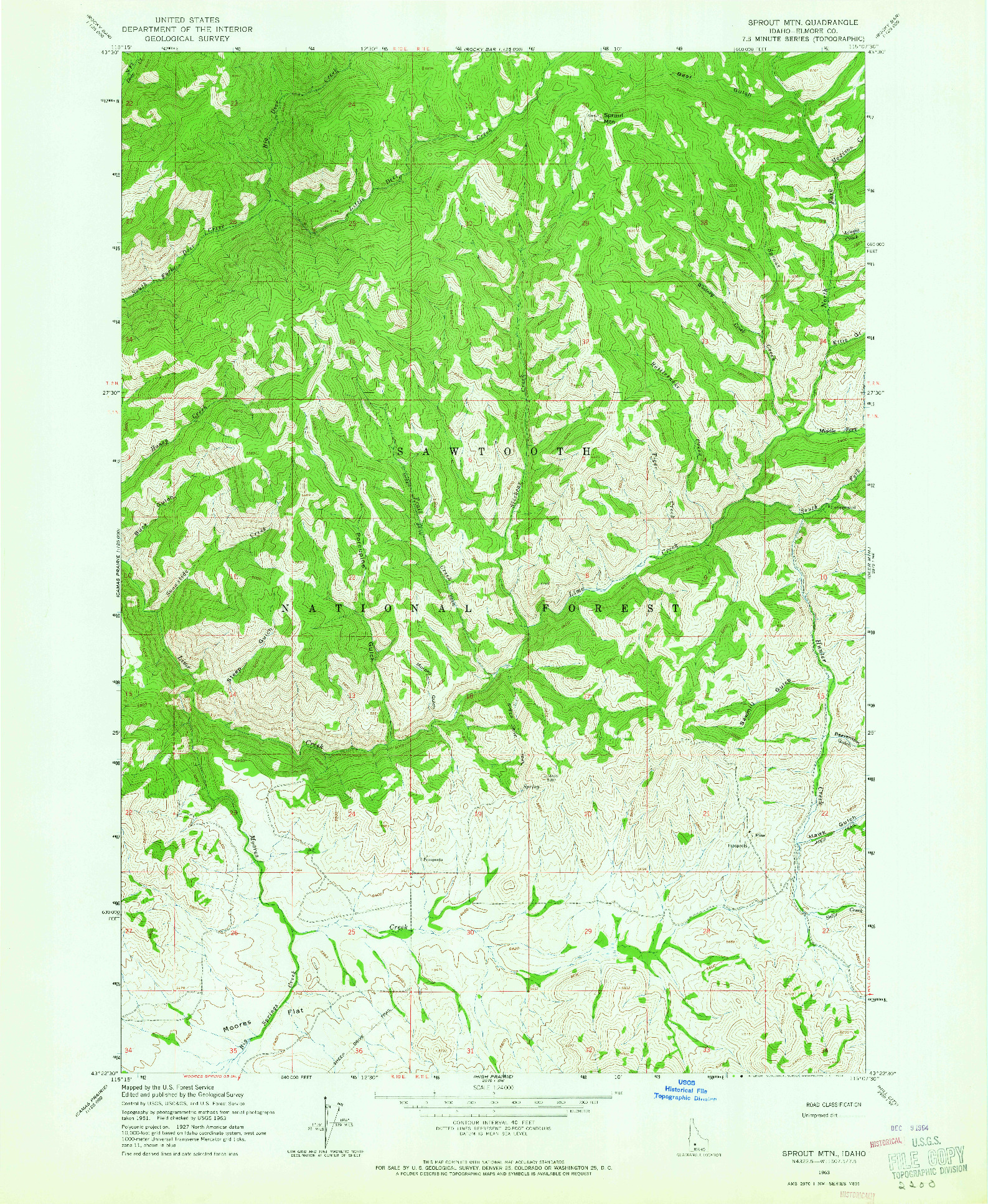 USGS 1:24000-SCALE QUADRANGLE FOR SPROUT MTN, ID 1963