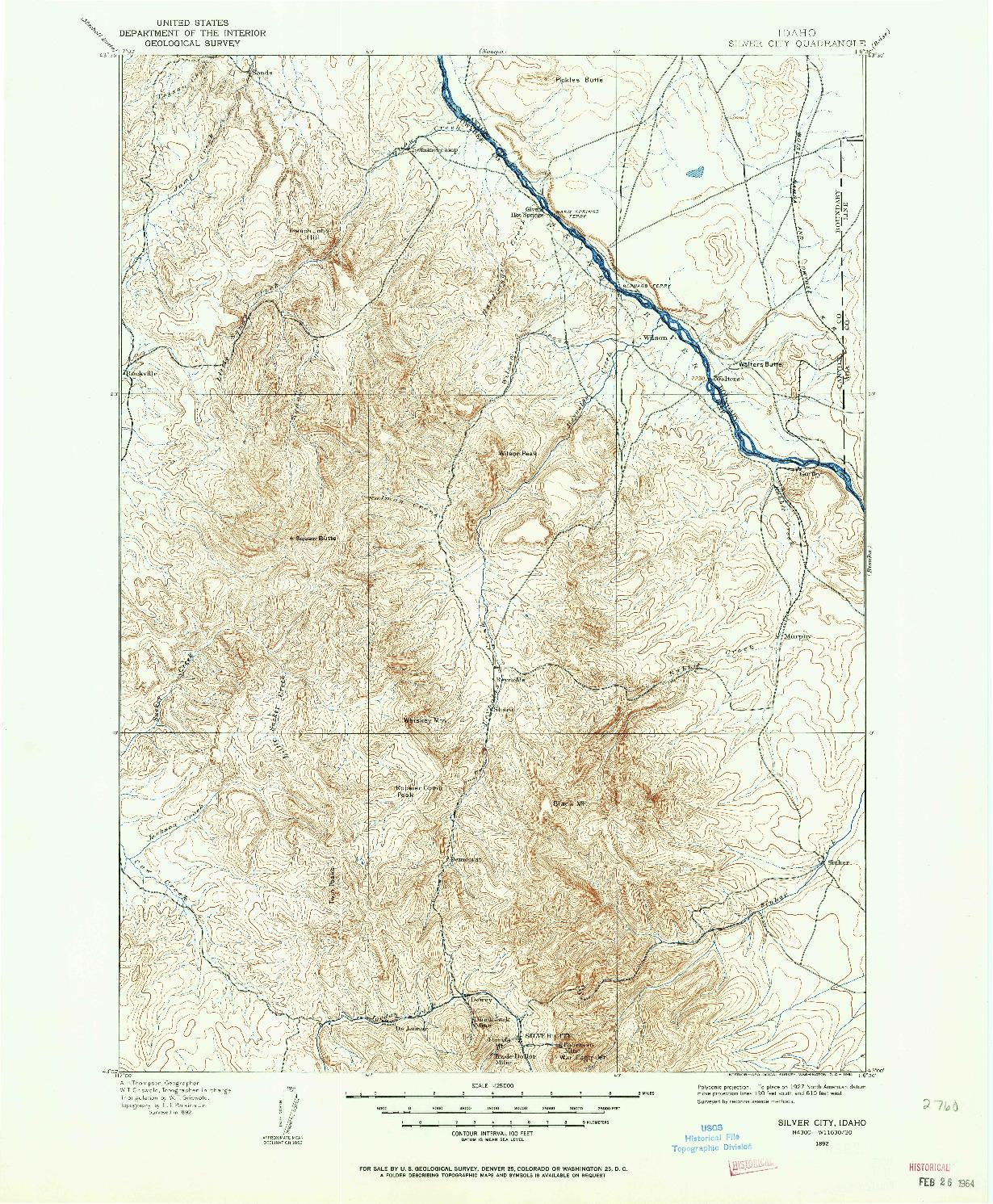 USGS 1:125000-SCALE QUADRANGLE FOR SILVER CITY, ID 1892