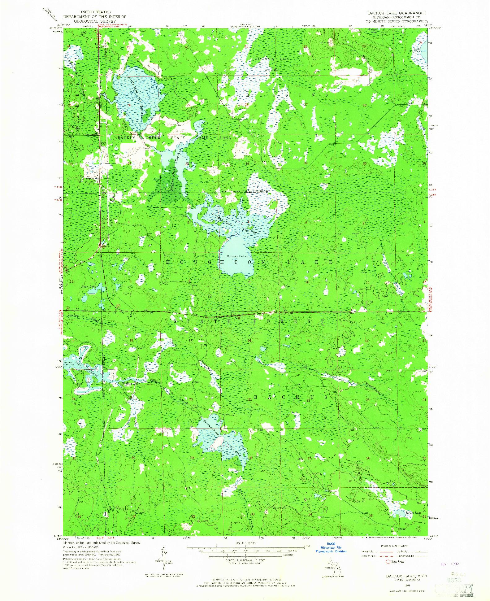 USGS 1:24000-SCALE QUADRANGLE FOR BACKUS LAKE, MI 1963