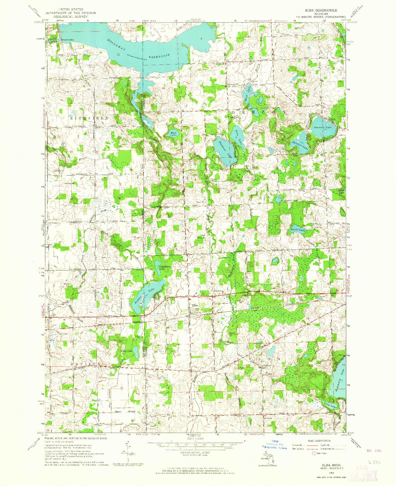 USGS 1:24000-SCALE QUADRANGLE FOR ELBA, MI 1963