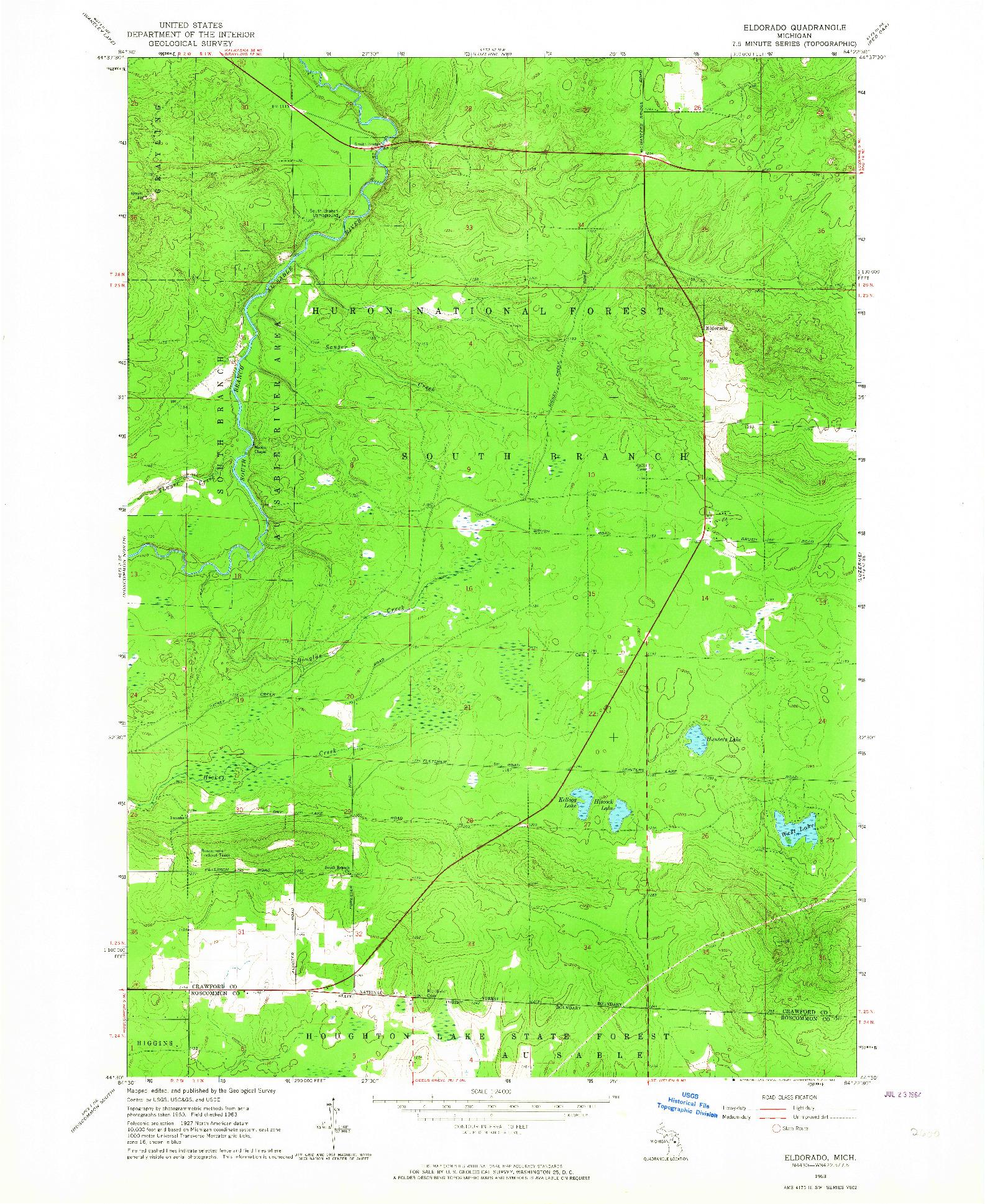 USGS 1:24000-SCALE QUADRANGLE FOR ELDORADO, MI 1963