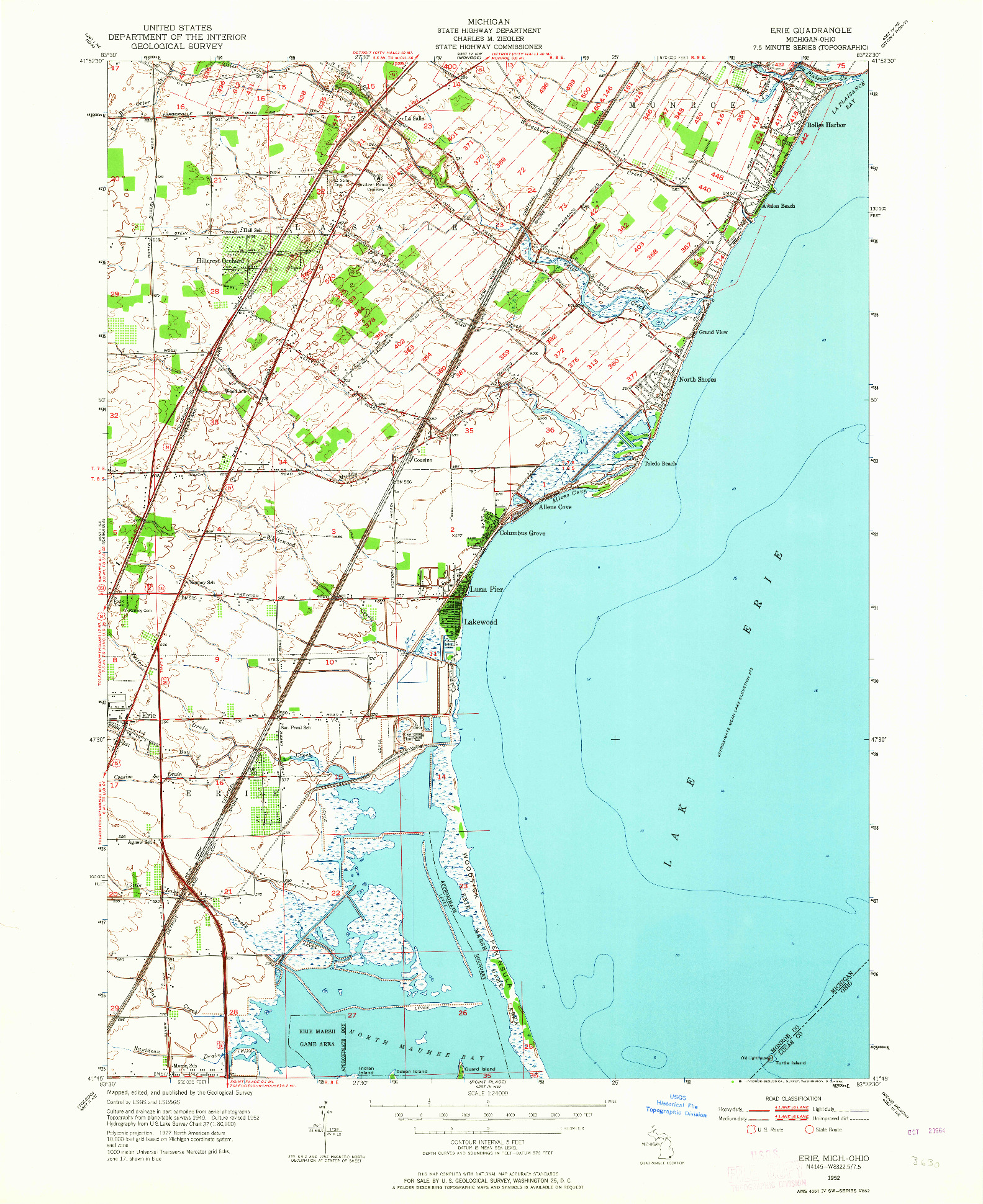 USGS 1:24000-SCALE QUADRANGLE FOR ERIE, MI 1952