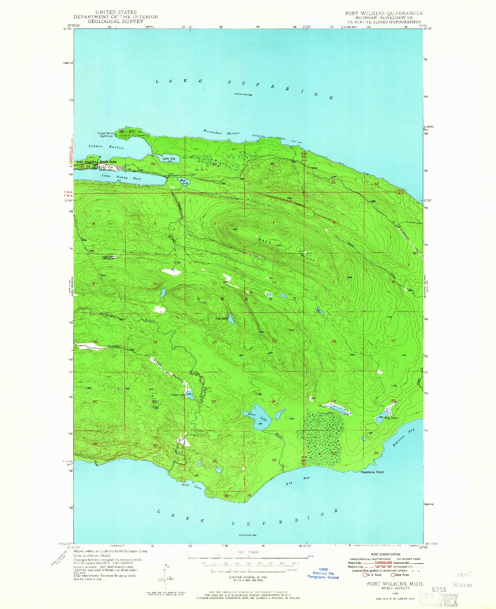 USGS 1:24000-SCALE QUADRANGLE FOR FORT WILKINS, MI 1948