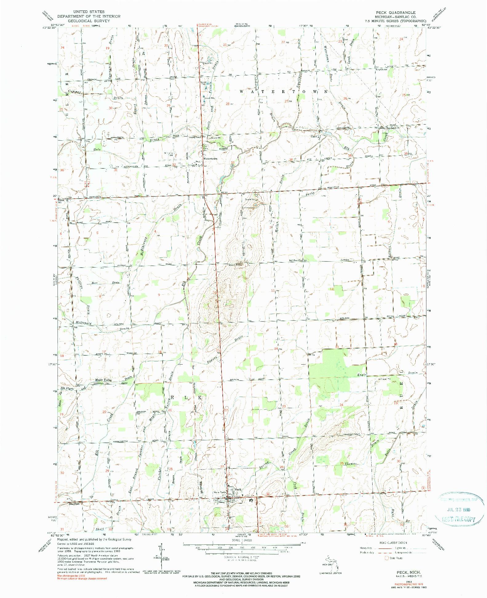 USGS 1:24000-SCALE QUADRANGLE FOR PECK, MI 1963