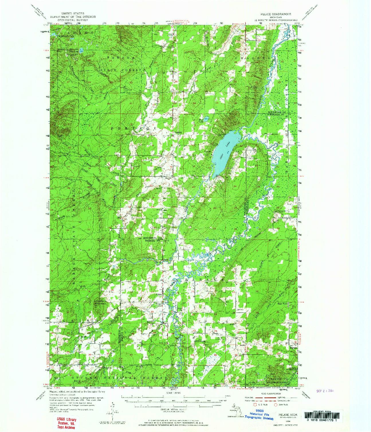 USGS 1:62500-SCALE QUADRANGLE FOR PELKIE, MI 1954