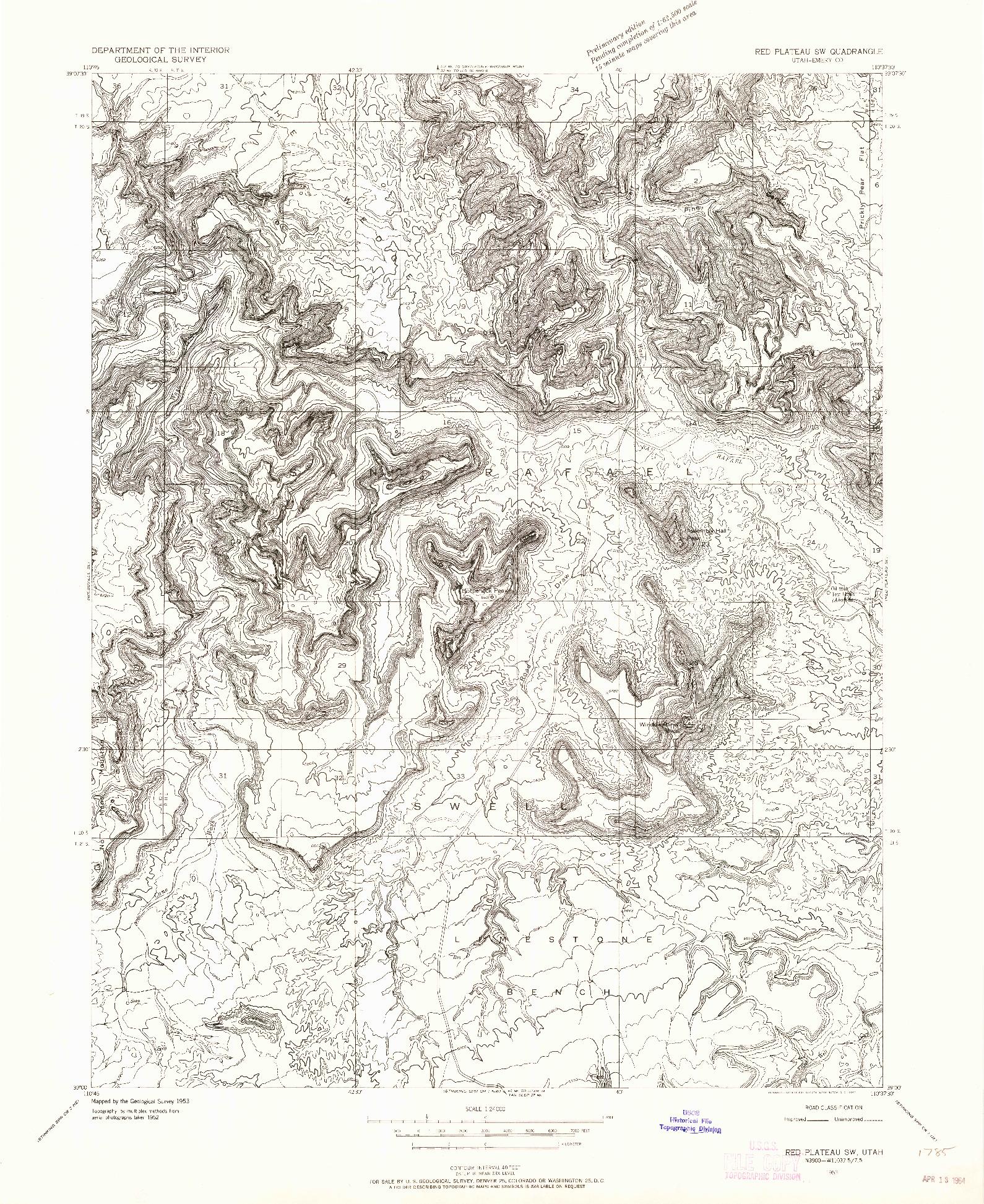 USGS 1:24000-SCALE QUADRANGLE FOR RED PLATEAU SW, UT 1953