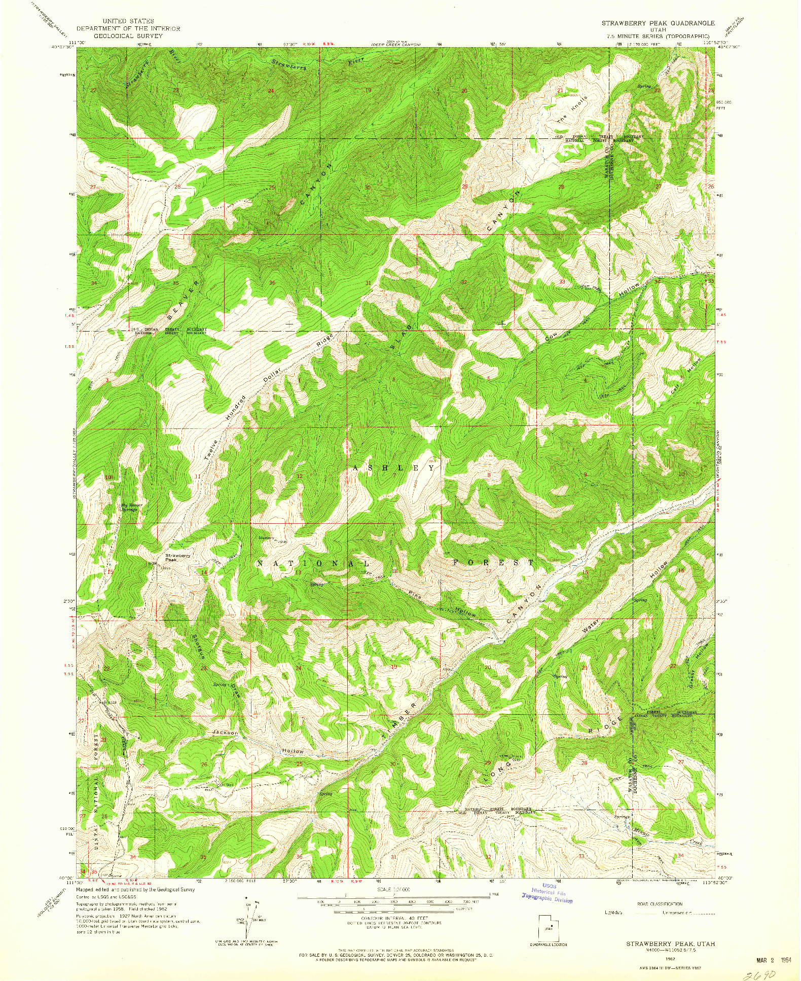 USGS 1:24000-SCALE QUADRANGLE FOR STRAWBERRY PEAK, UT 1962
