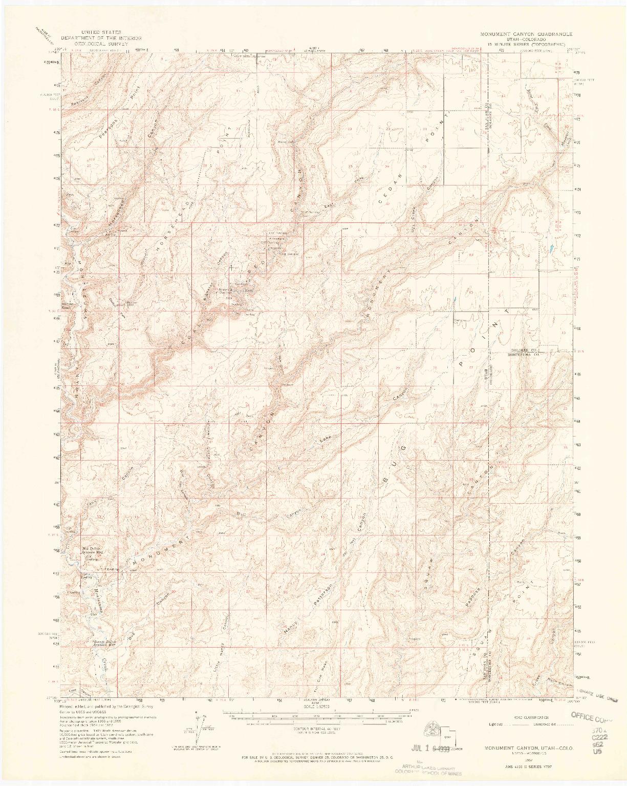 USGS 1:62500-SCALE QUADRANGLE FOR MONUMENT CANYON, UT 1957