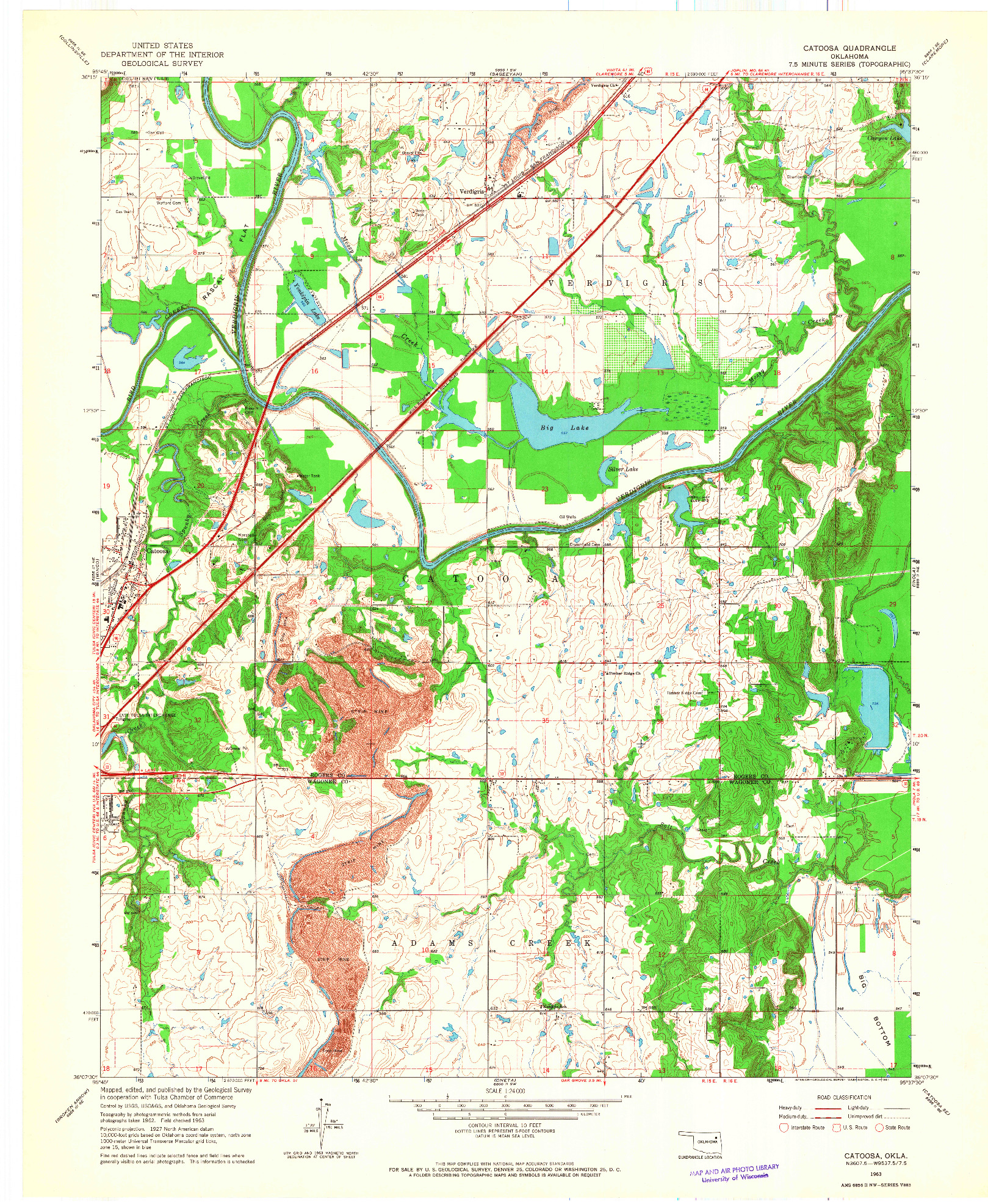 USGS 1:24000-SCALE QUADRANGLE FOR CATOOSA, OK 1963