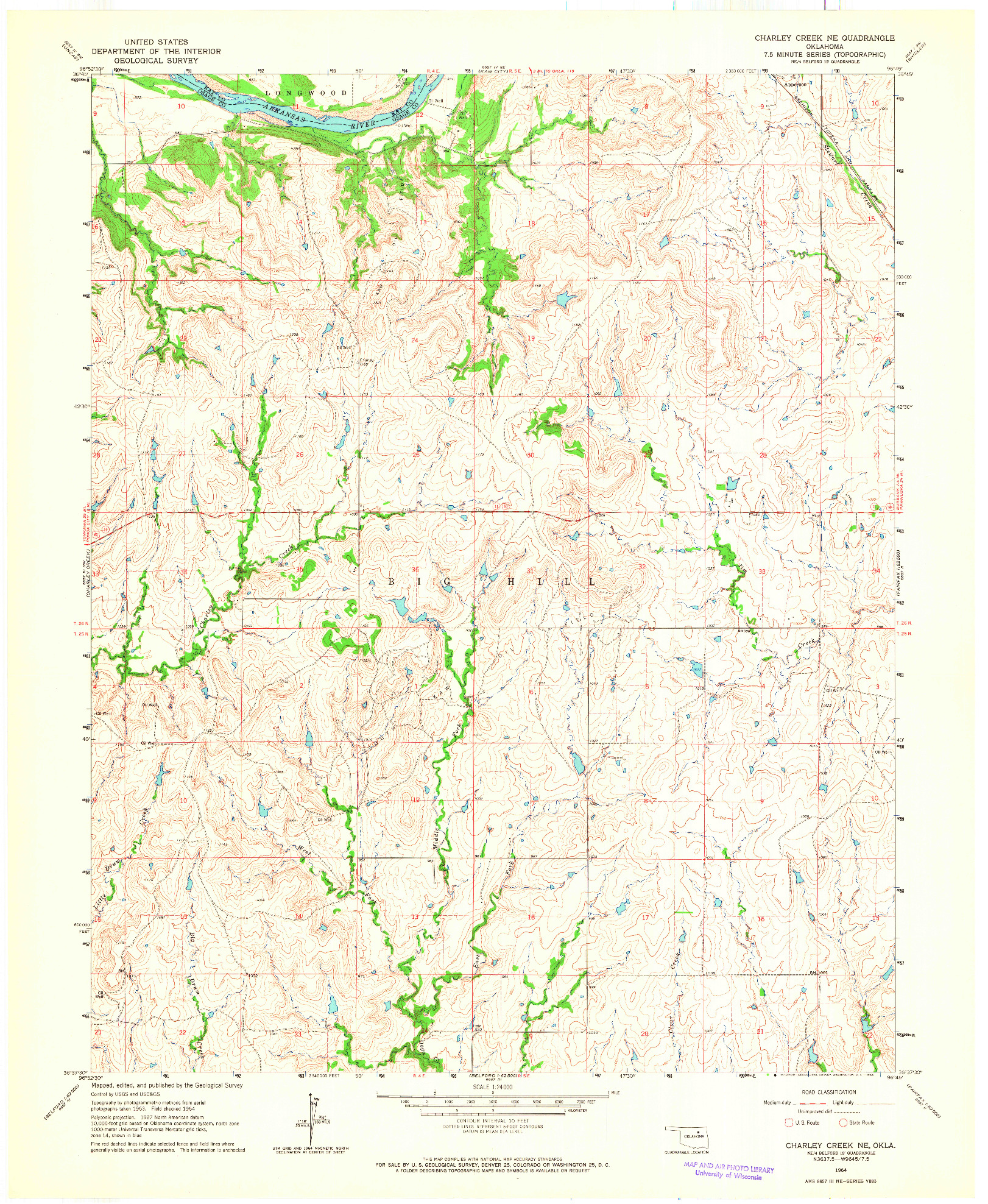 USGS 1:24000-SCALE QUADRANGLE FOR CHARLEY CREEK NE, OK 1964