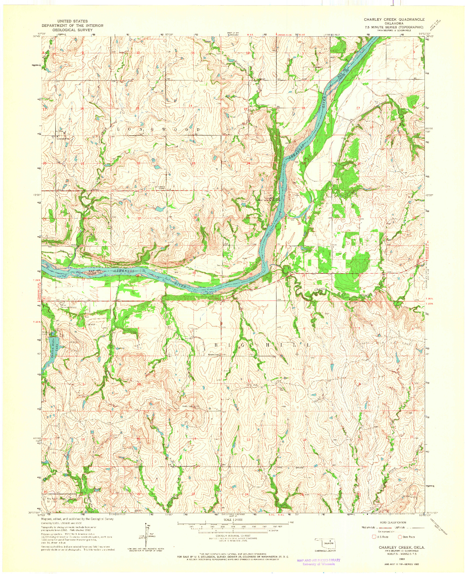 USGS 1:24000-SCALE QUADRANGLE FOR CHARLEY CREEK, OK 1963