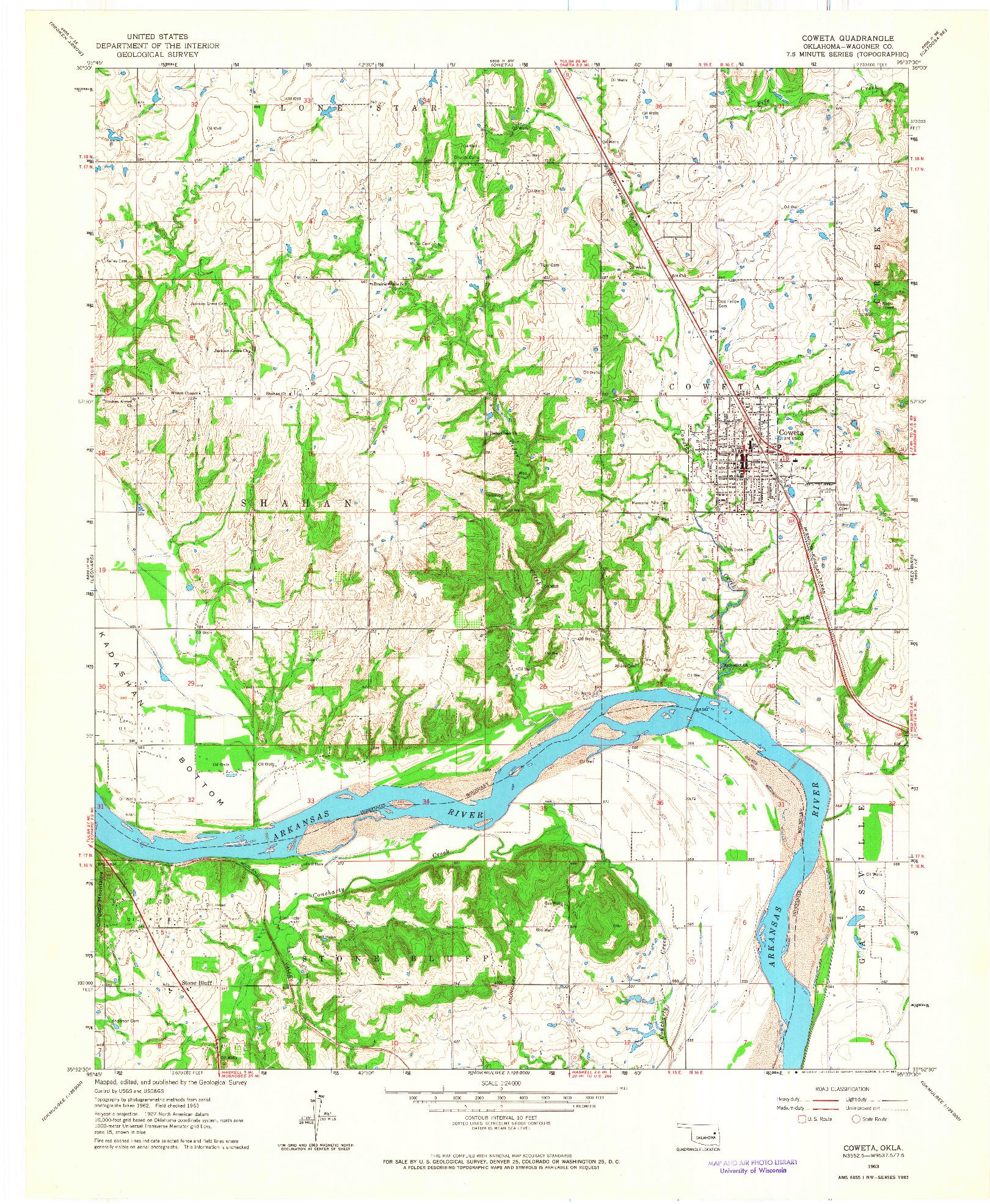 USGS 1:24000-SCALE QUADRANGLE FOR COWETA, OK 1963