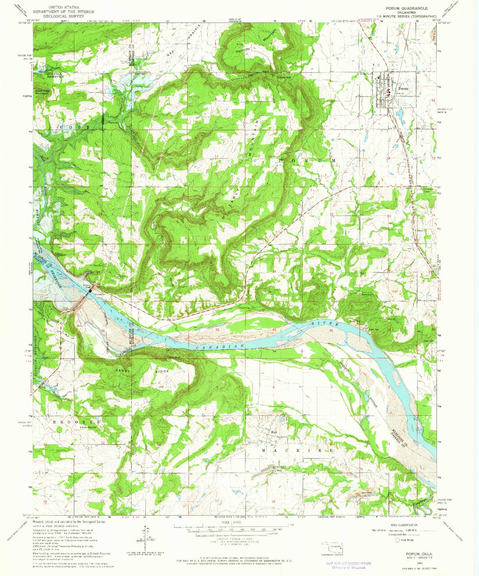 USGS 1:24000-SCALE QUADRANGLE FOR PORUM, OK 1963
