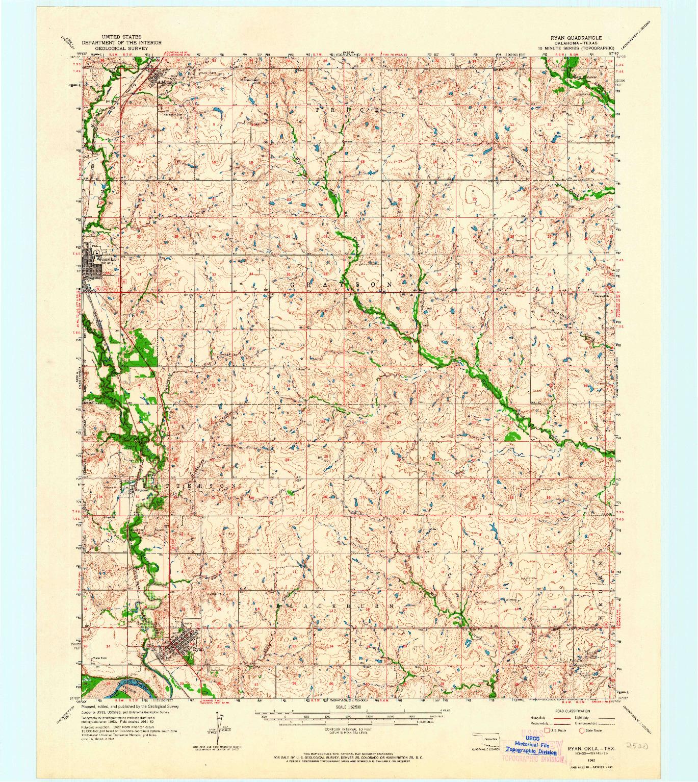 USGS 1:62500-SCALE QUADRANGLE FOR RYAN, OK 1962