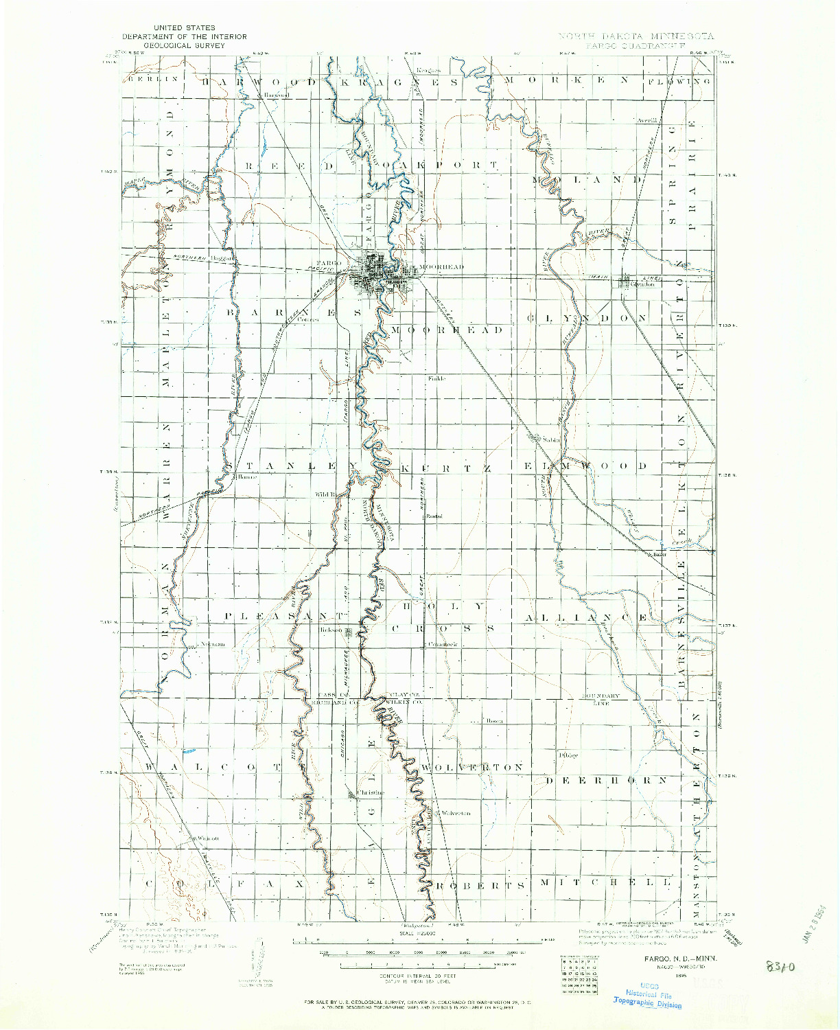 USGS 1:125000-SCALE QUADRANGLE FOR FARGO, ND 1895