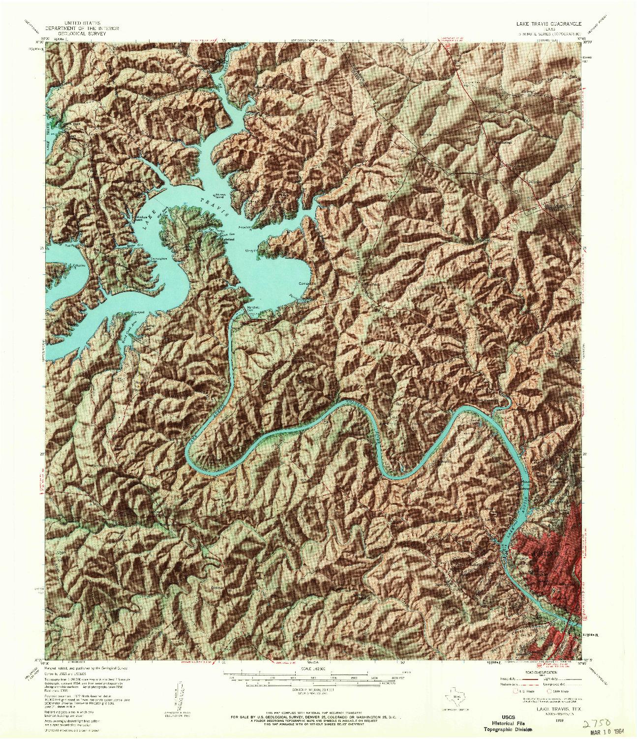 USGS 1:62500-SCALE QUADRANGLE FOR LAKE TRAVIS, TX 1959