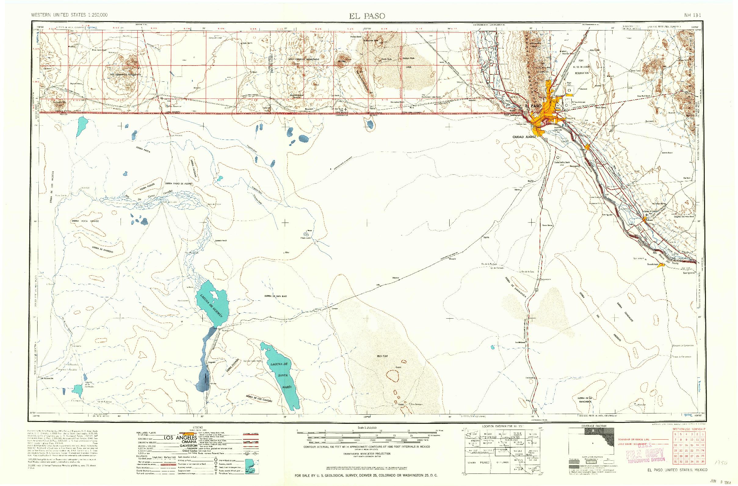 USGS 1:250000-SCALE QUADRANGLE FOR EL PASO, TX 1964