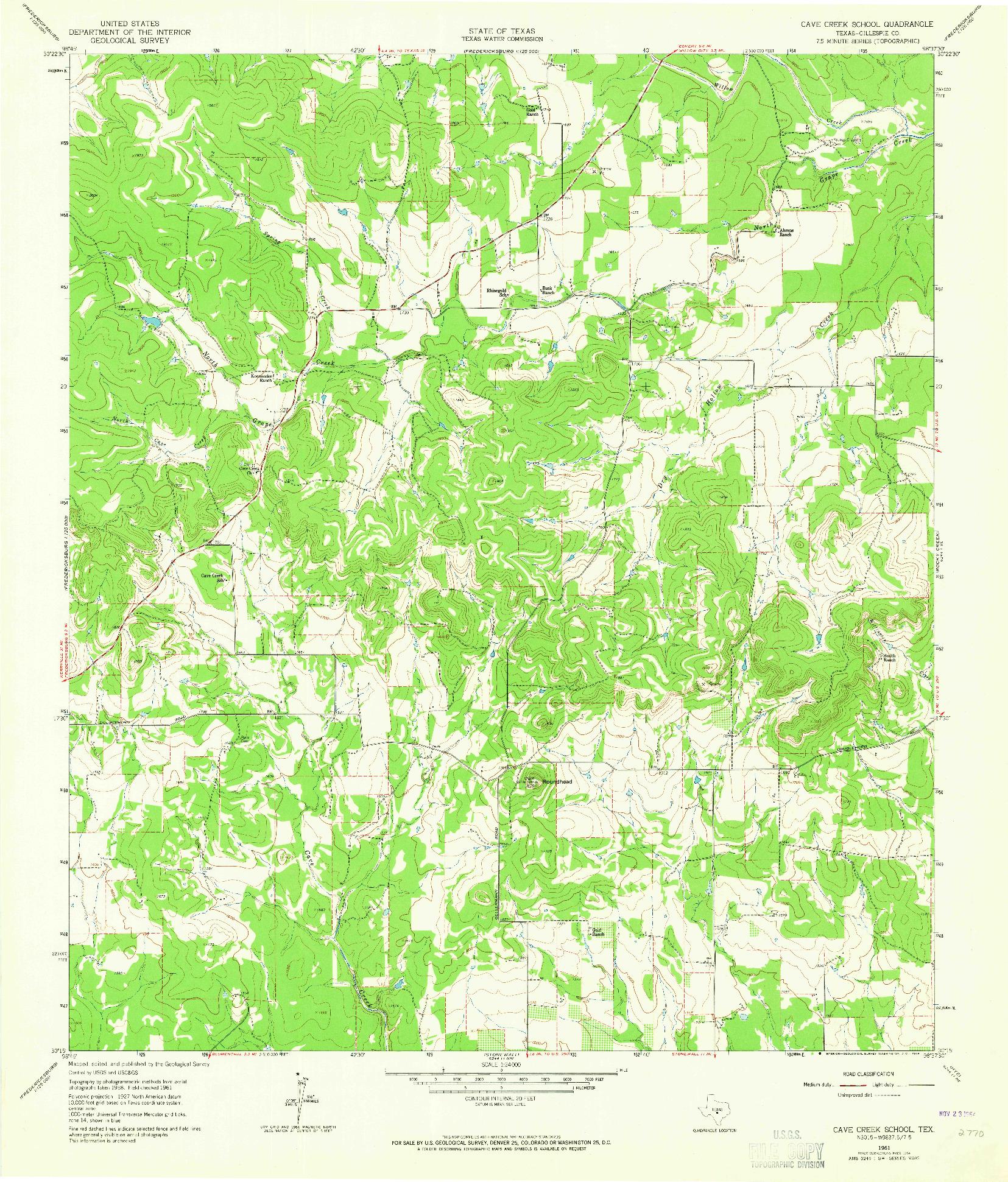 USGS 1:24000-SCALE QUADRANGLE FOR CAVE CREEK SCHOOL, TX 1961