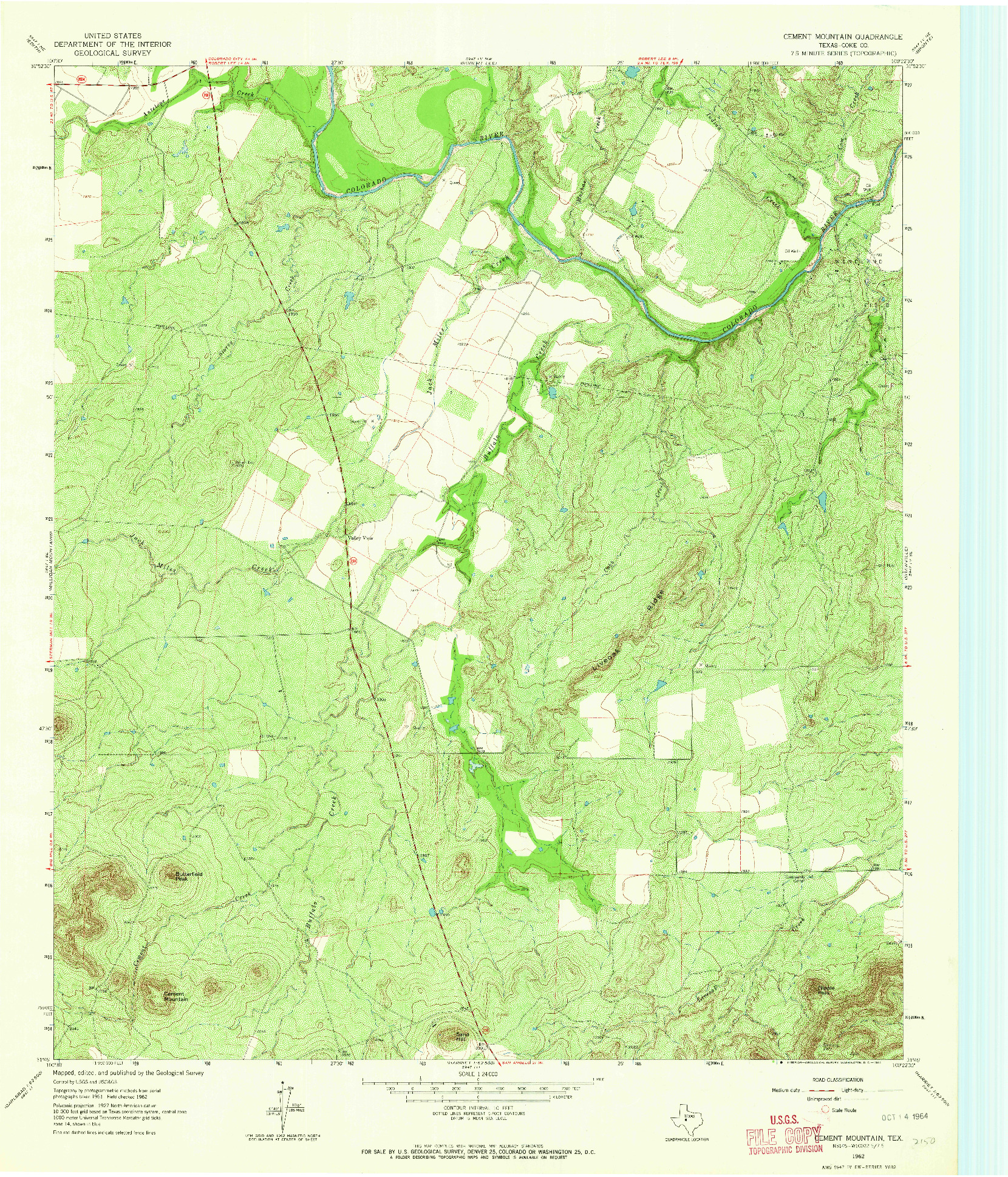 USGS 1:24000-SCALE QUADRANGLE FOR CEMENT MOUNTAIN, TX 1962