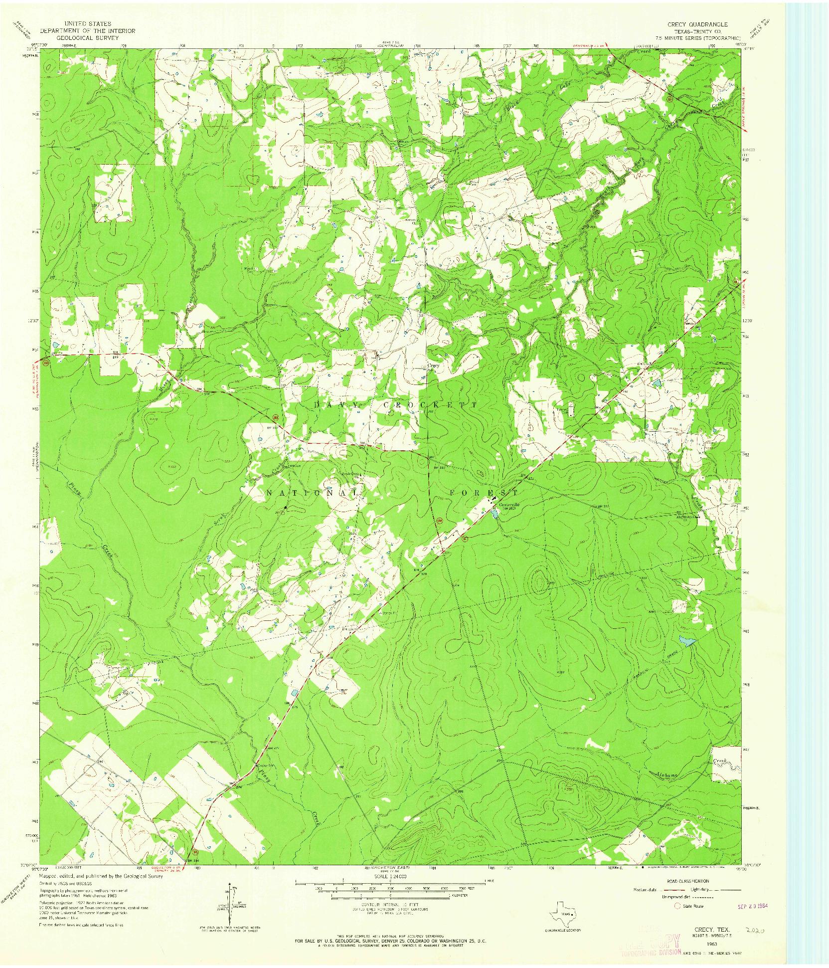 USGS 1:24000-SCALE QUADRANGLE FOR CRECY, TX 1963