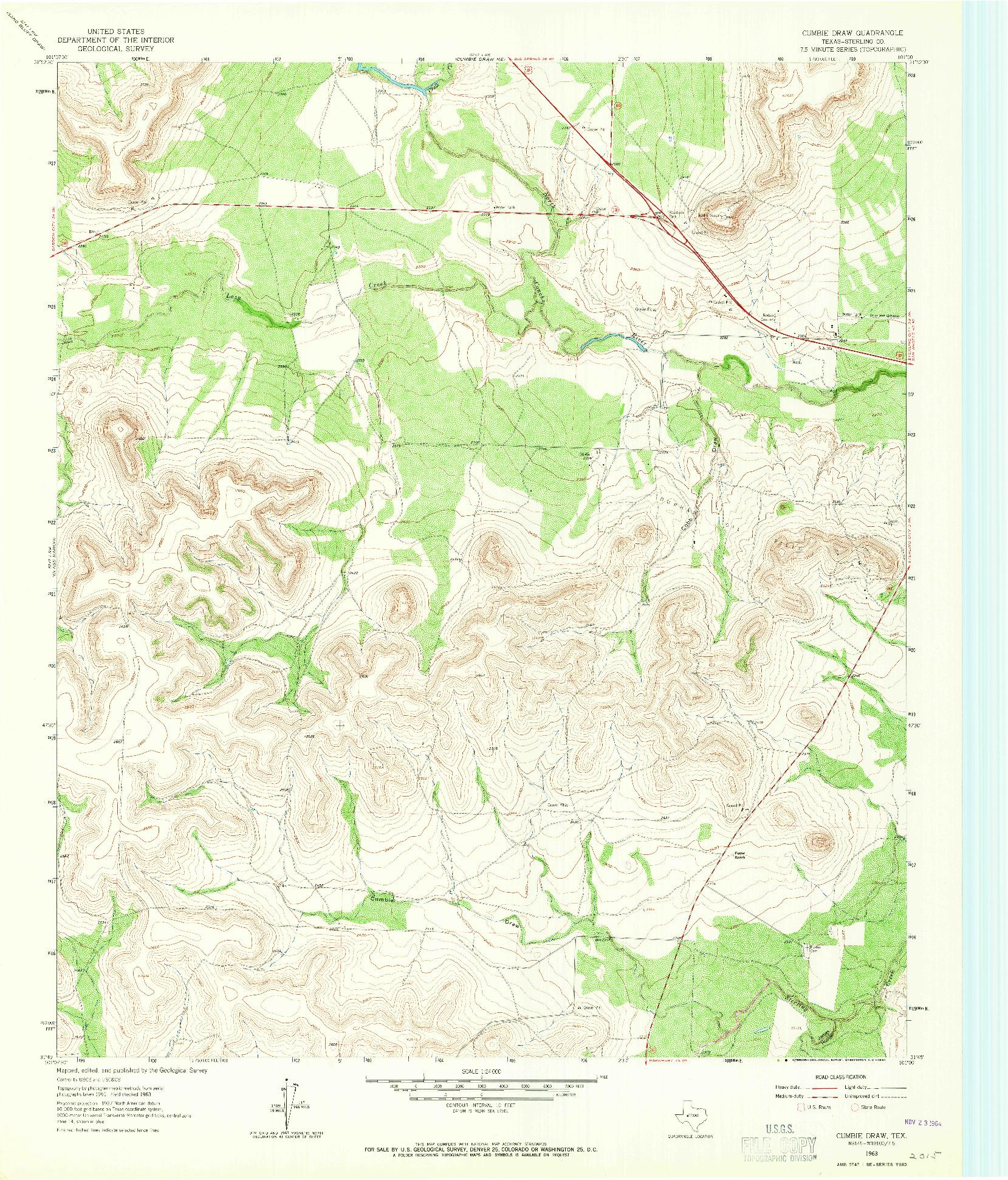 USGS 1:24000-SCALE QUADRANGLE FOR CUMBIE DRAW, TX 1963